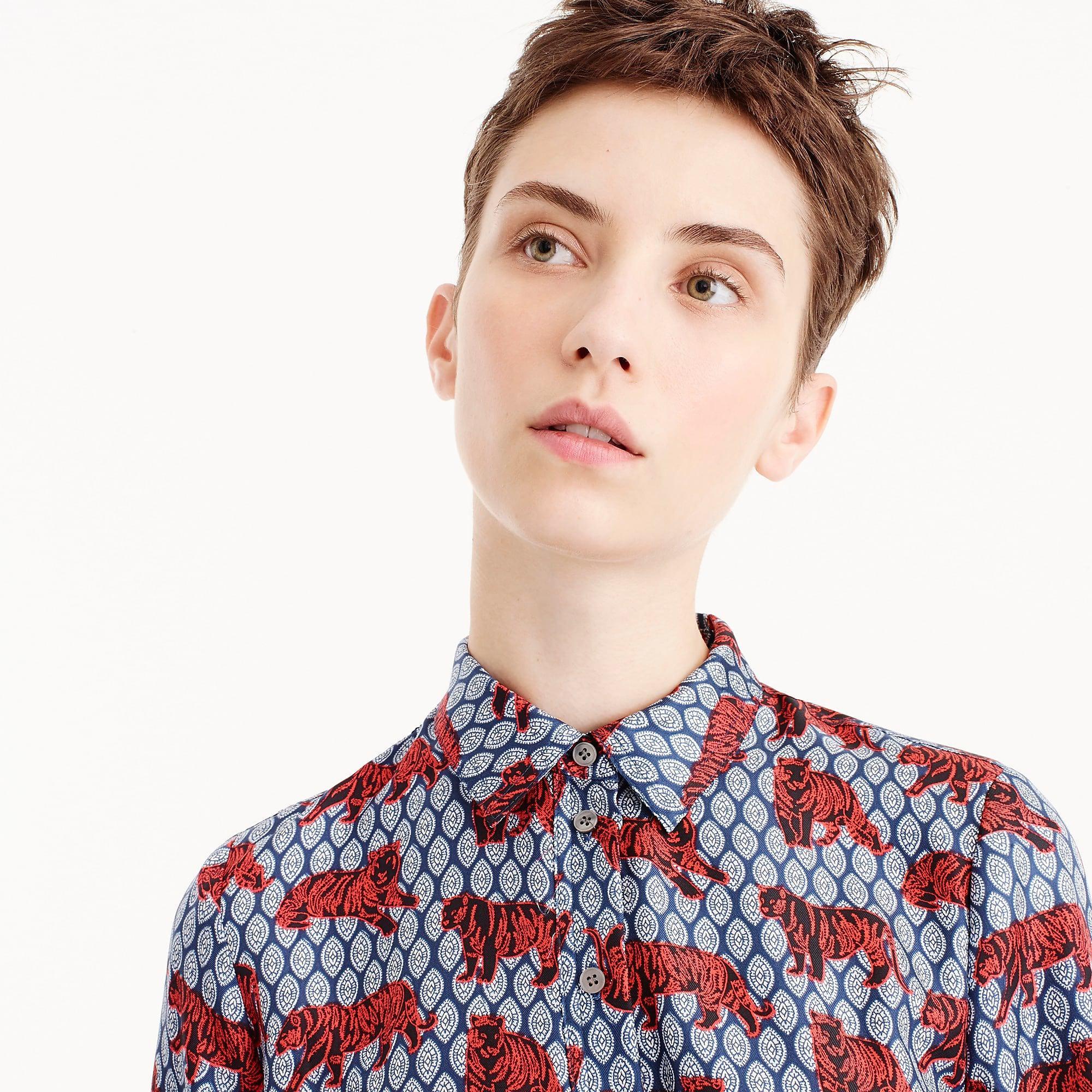 f97fd9d7559e8 Lyst - J.Crew Collection Silk Twill Shirtdress In Roaming Tiger ...