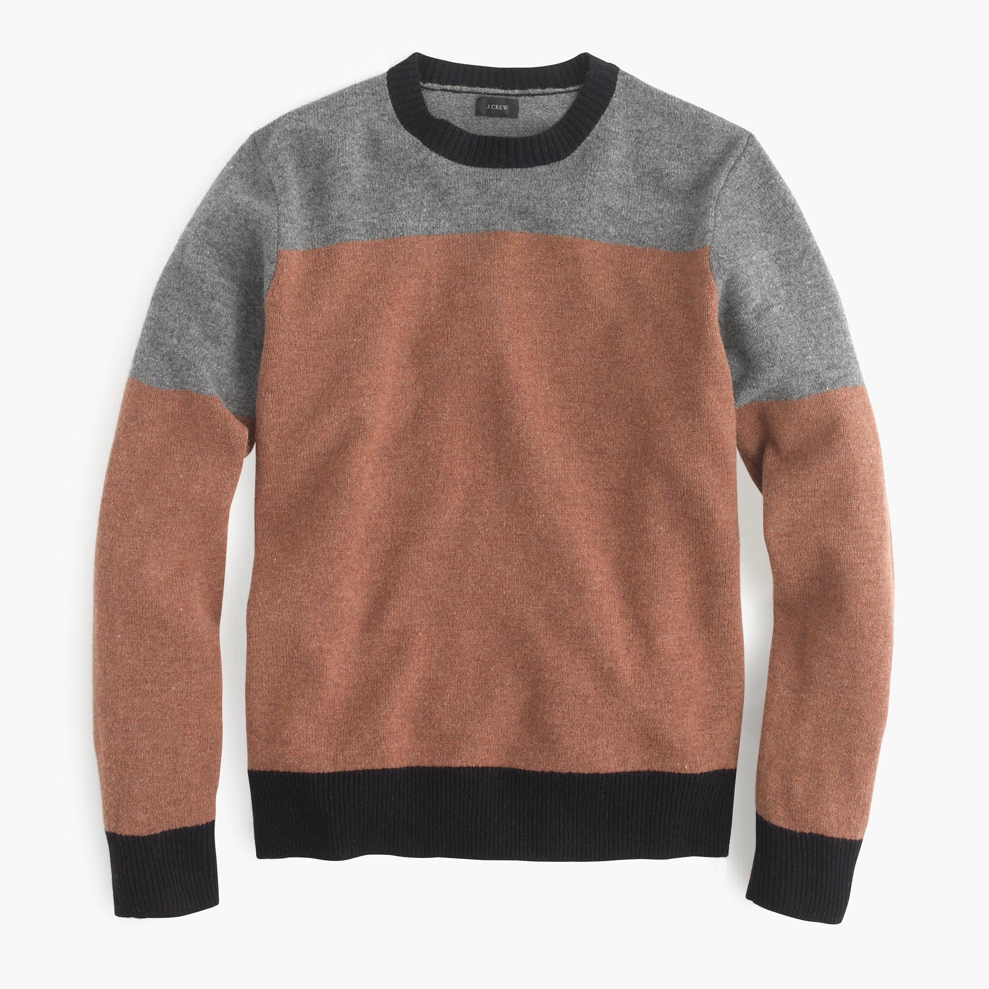 J.crew Lambswool Sweater In Varsity Colorblock in Brown for Men | Lyst