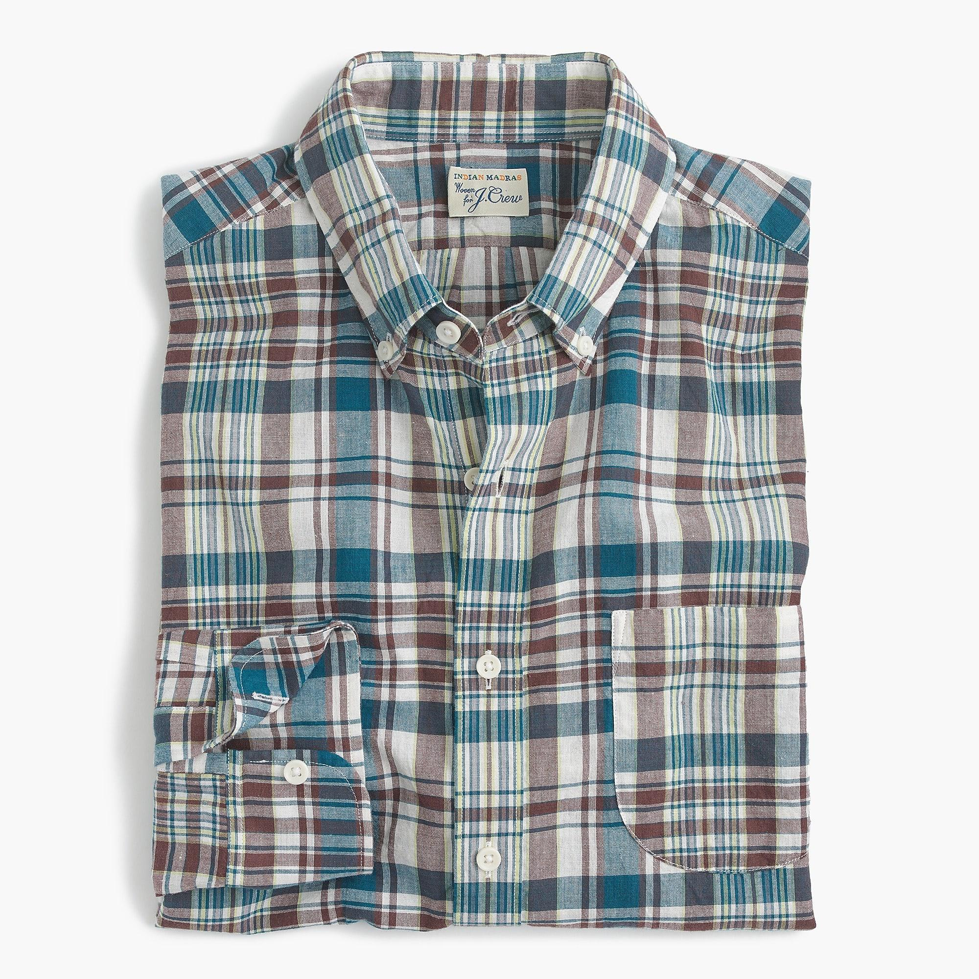 9b4975f0936 J.Crew Madras Shirt In Faded Plaid in Blue for Men - Lyst