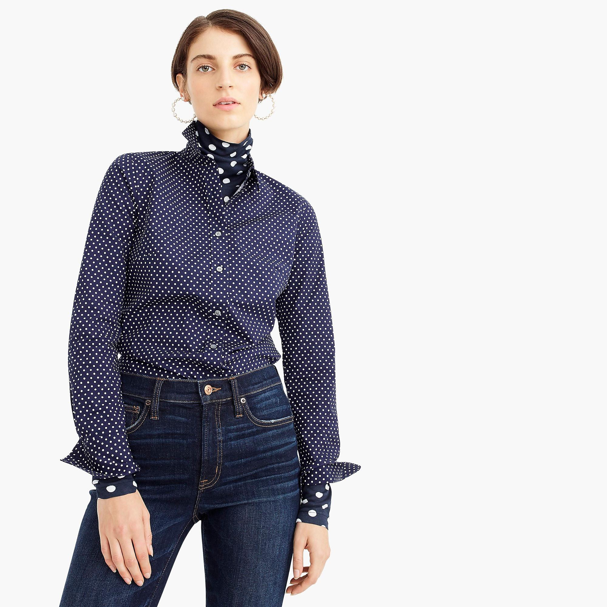3eeaee9d2836 J.Crew Slim Stretch Perfect Shirt In Polka Dot in Blue - Lyst
