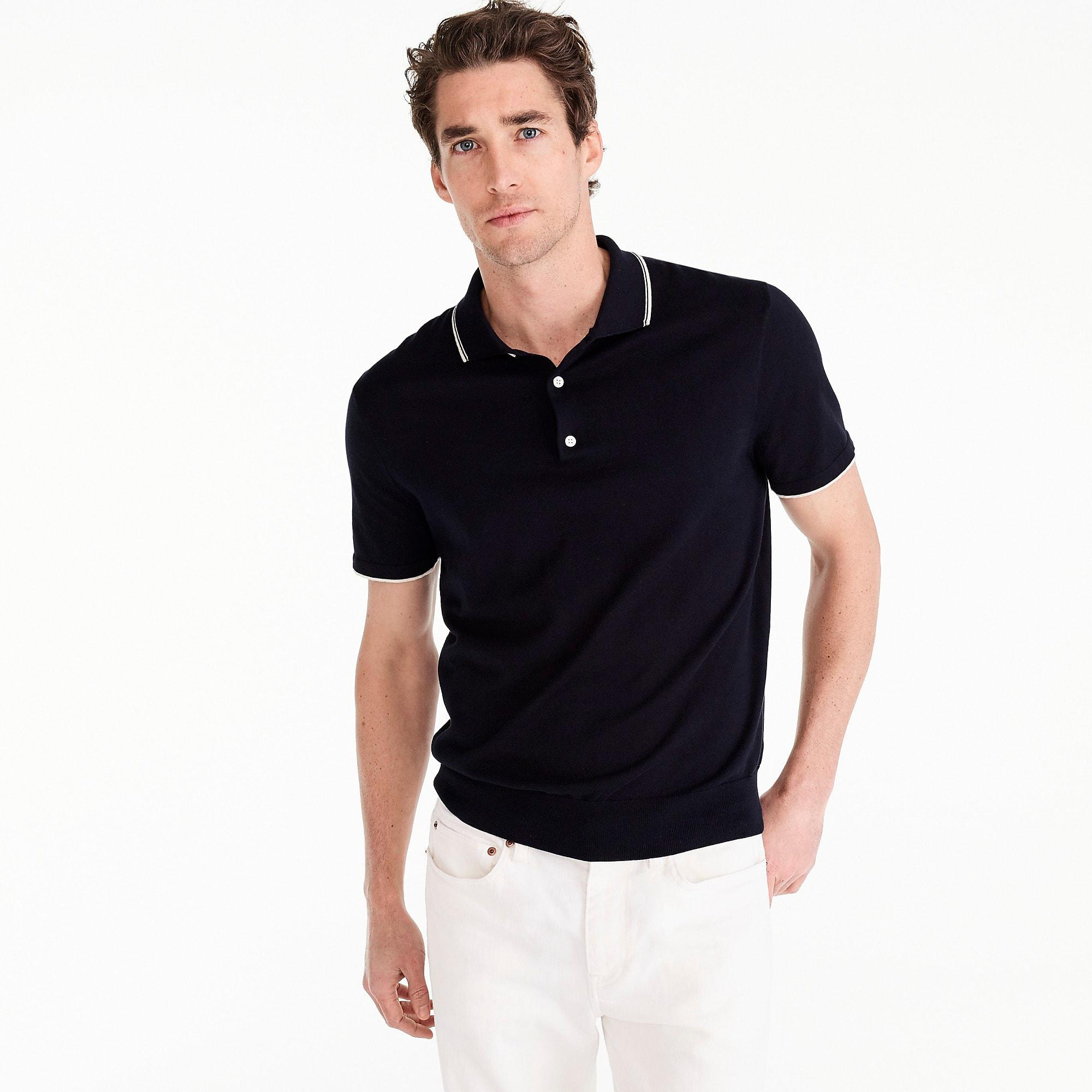 4c3a99cc J.Crew Pima Cotton Short-sleeve Tipped Sweater Polo in Blue for Men ...