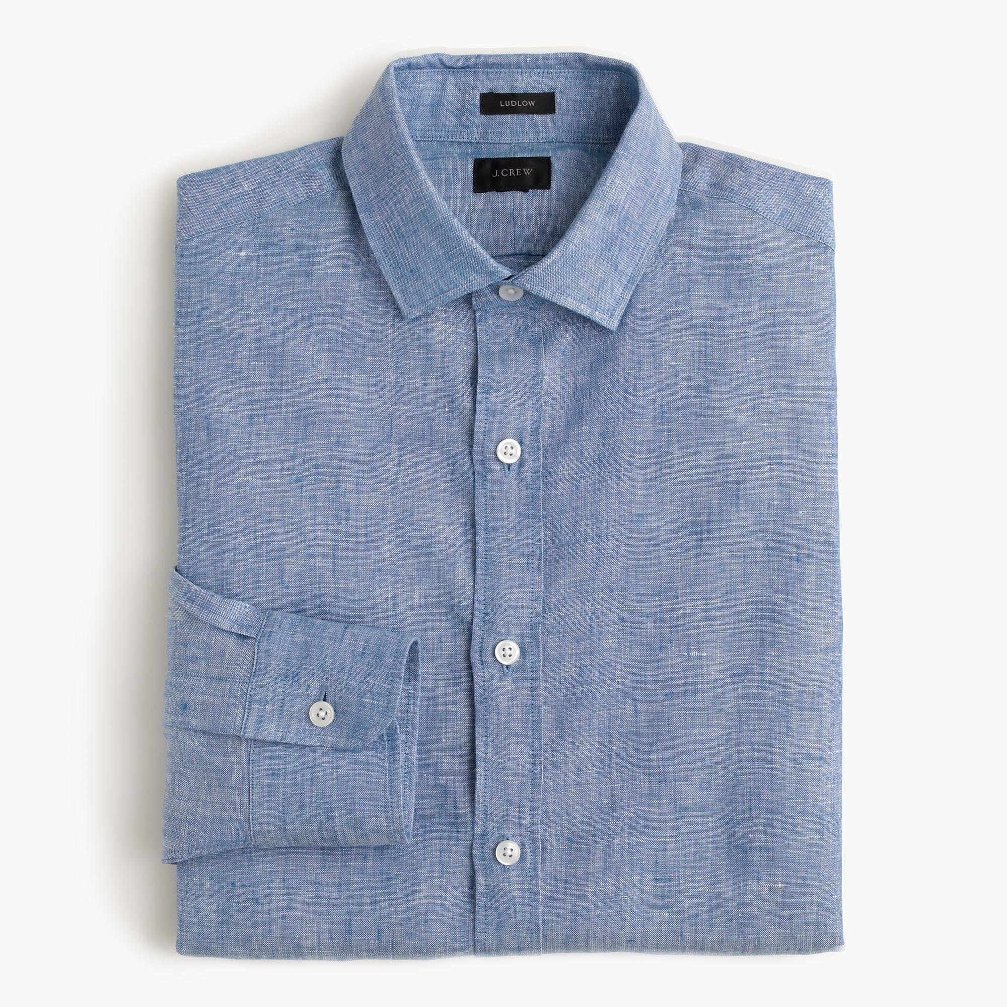 Ludlow shirt in d lav irish linen in blue for men for Irish linen dress shirts