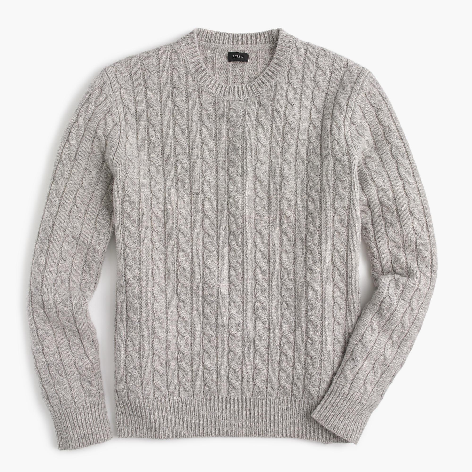 c50537132 Lyst - J.Crew Lambswool Crewneck Sweater In Cable-knit in Gray for Men