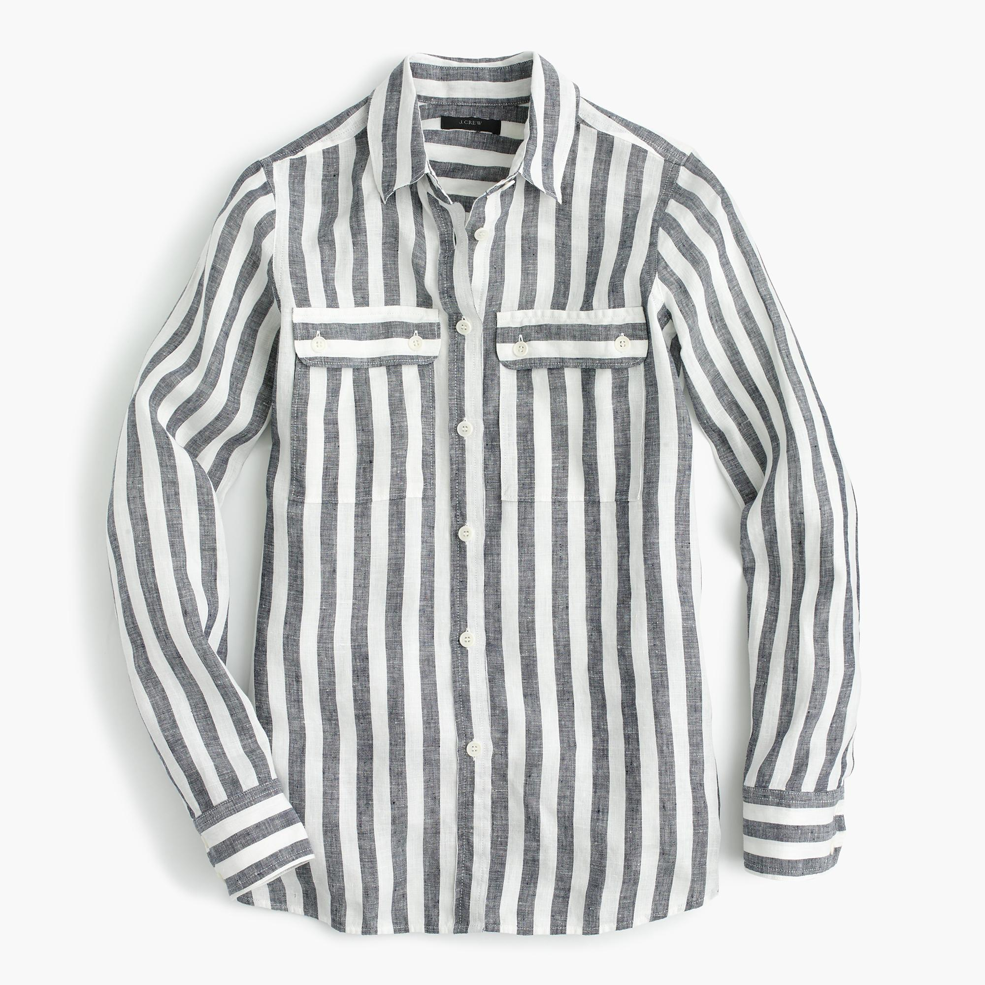 Lyst j crew button up shirt in striped linen in blue for Linen button up shirt womens