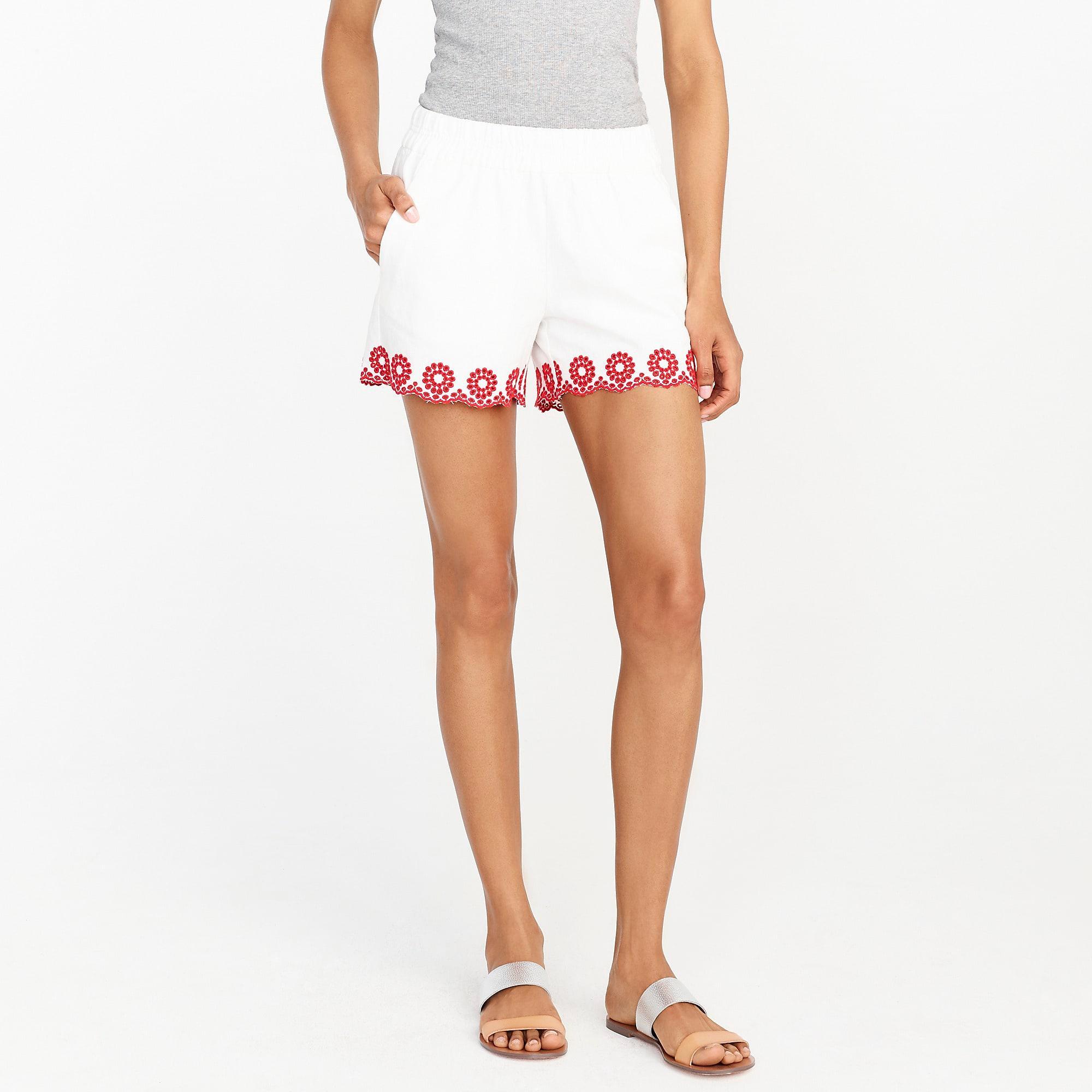 Lyst Jcrew Embroidered 4 Pull On Short In White Beberosie View Fullscreen