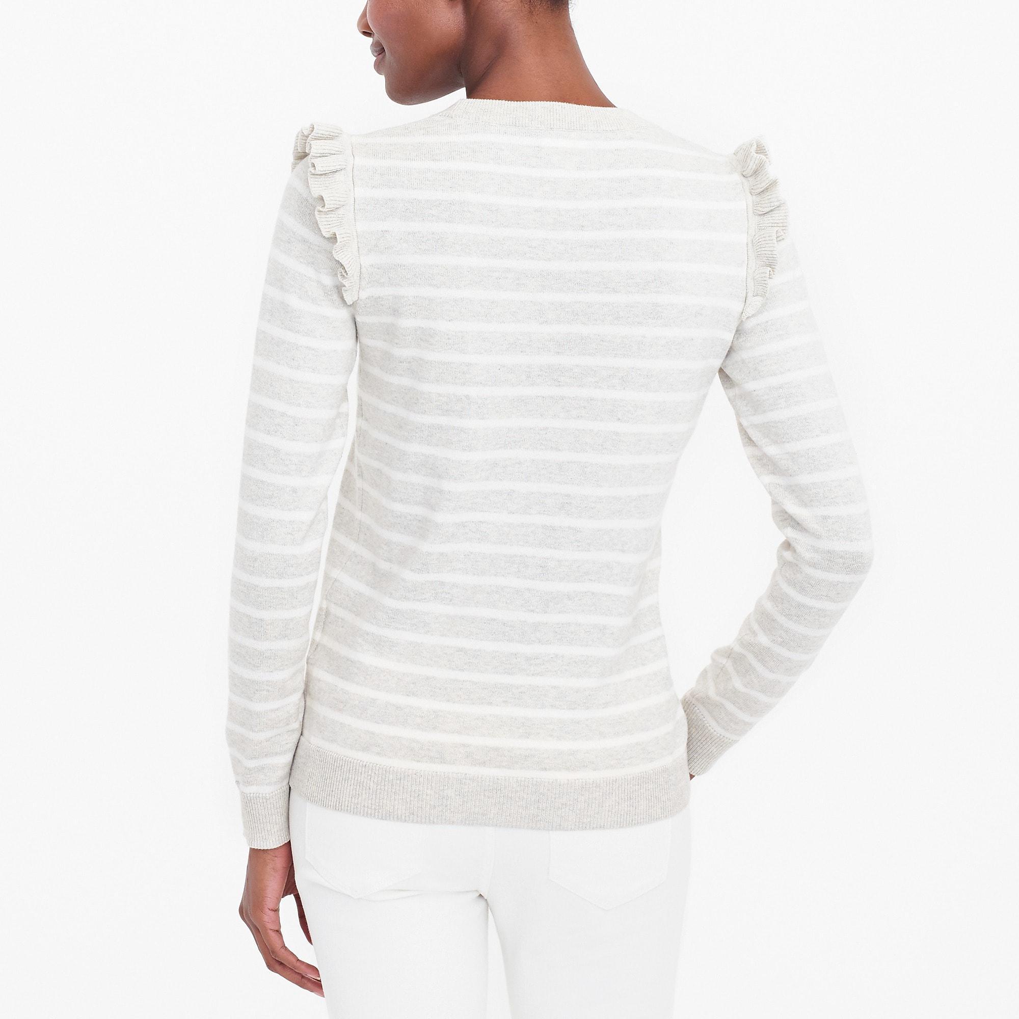 6b9c058c06dd7e J.Crew Striped Ruffle-shoulder Sweater in White - Lyst