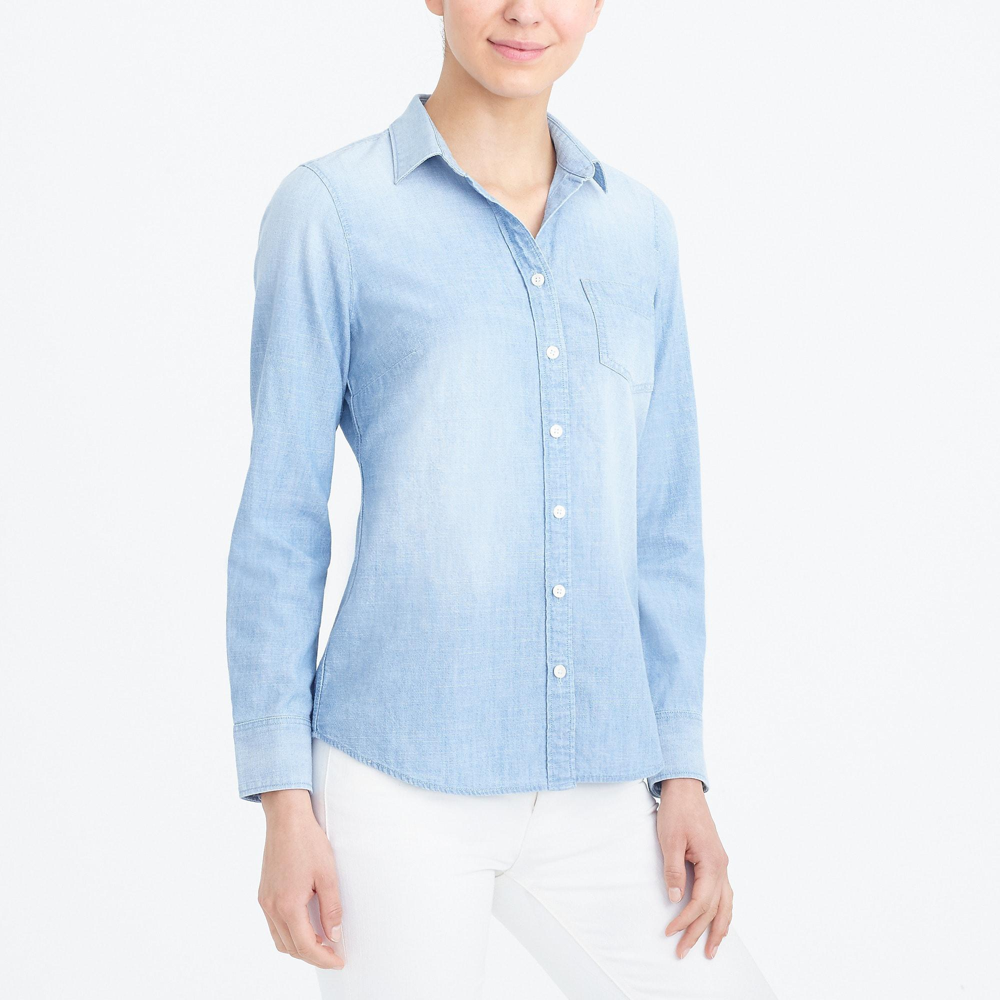 7447c6e6901 J.Crew Chambray Shirt In Perfect Fit in Blue - Lyst