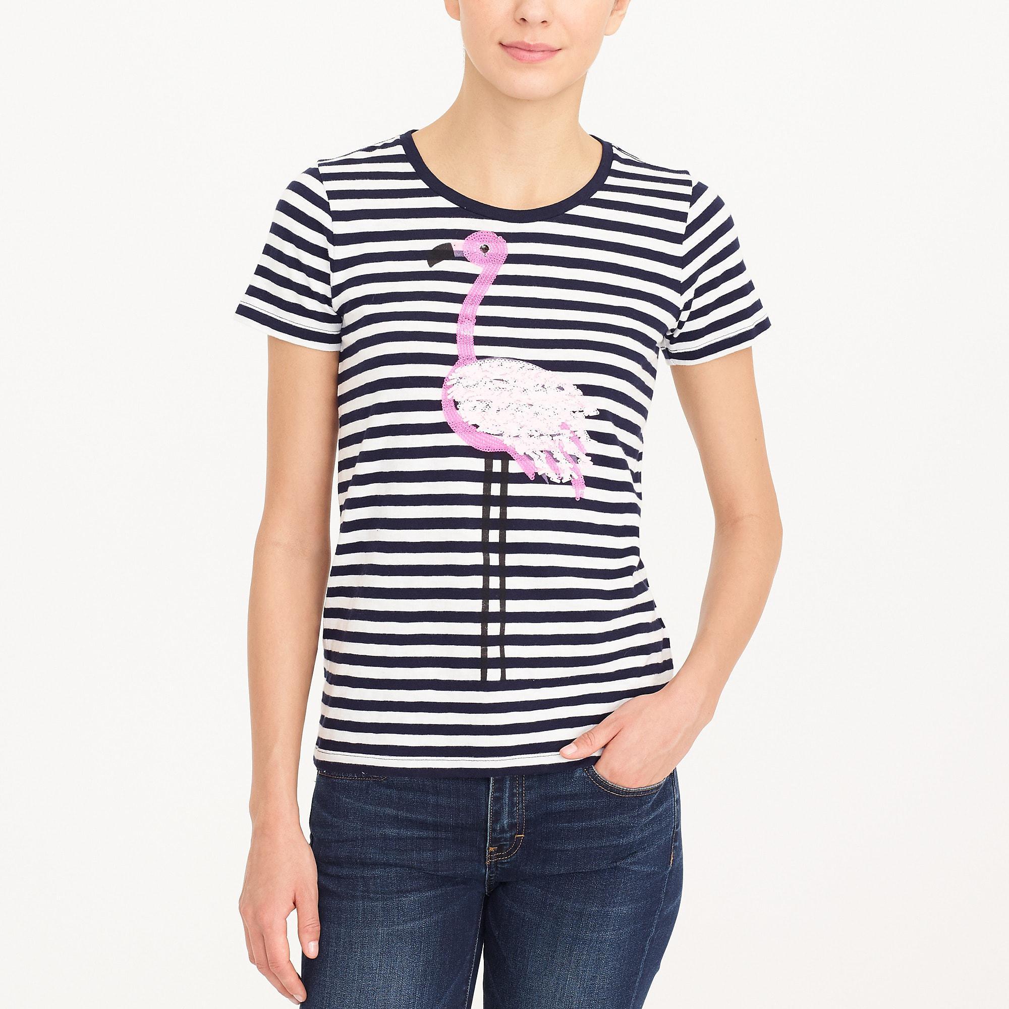 33f9b636 J.Crew. Women's Flamingo Striped Collector T-shirt
