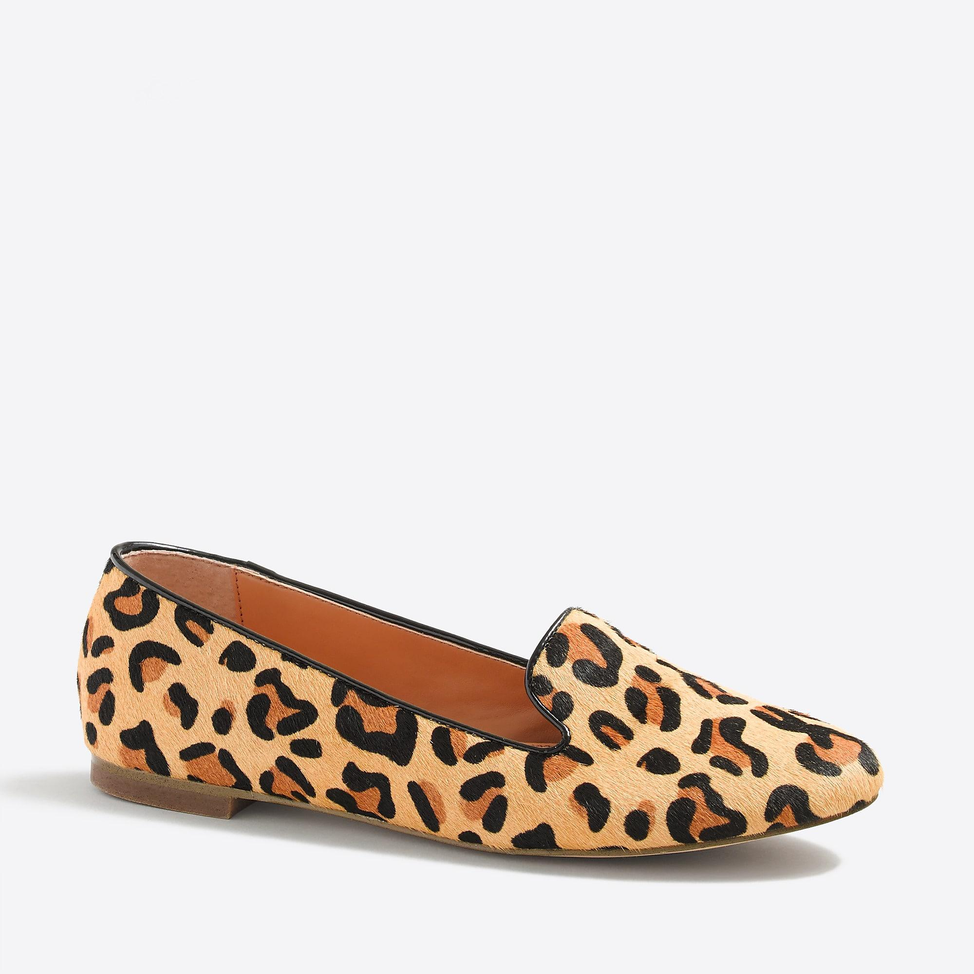 0a36a15c292 Lyst - J.Crew Cora Leopard Calf Hair Loafers in Brown
