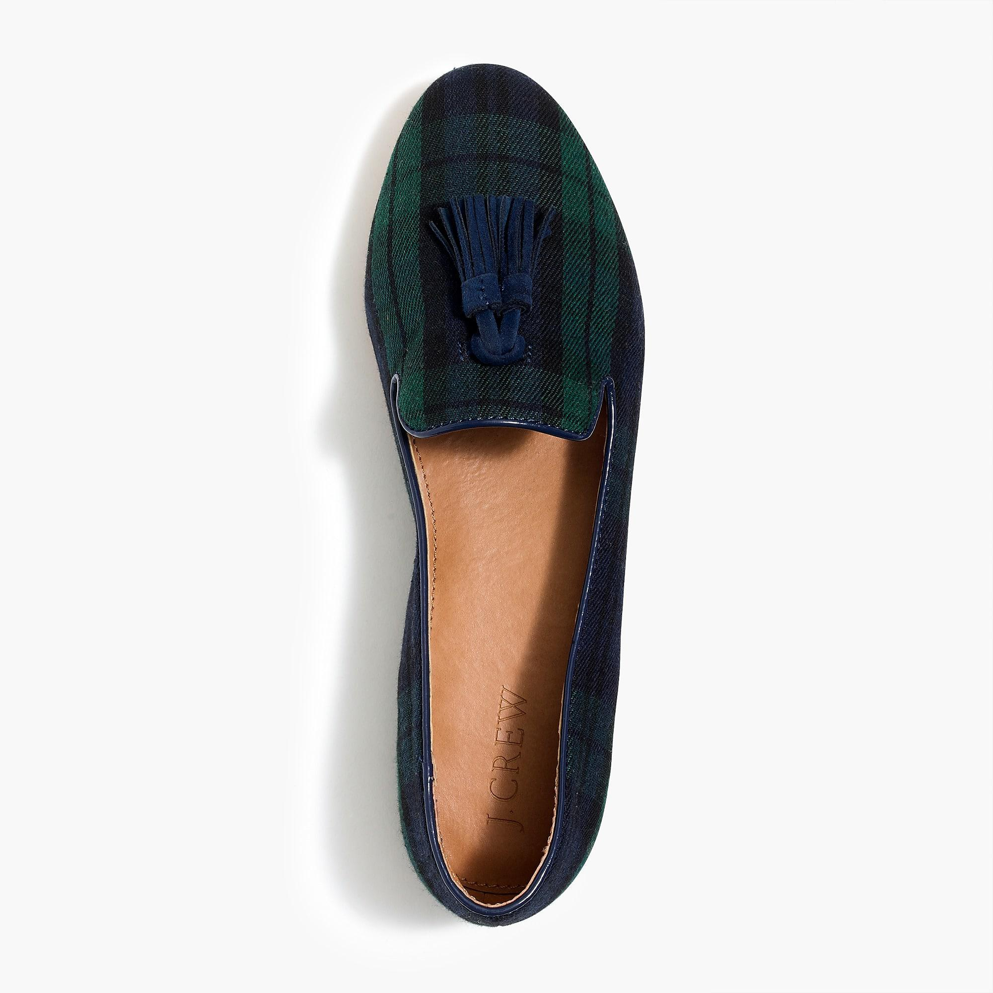 17286406bc8 Lyst - J.Crew Cora Loafers In Plaid With Tassels in Blue