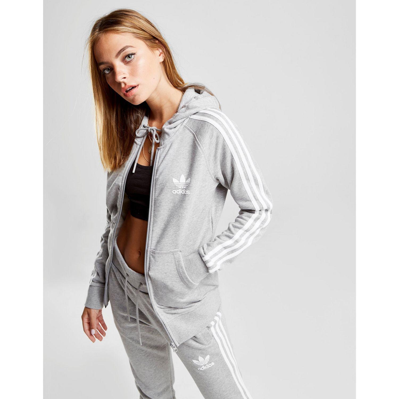 f7db01820b7 adidas Originals 3-stripes California Full Zip Hoodie in Gray - Save ...