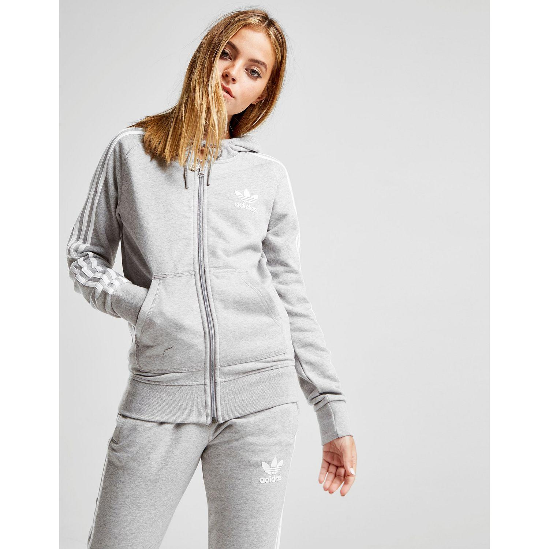 40d757f9641 Adidas Originals - Gray 3-stripes California Full Zip Hoodie - Lyst. View  fullscreen