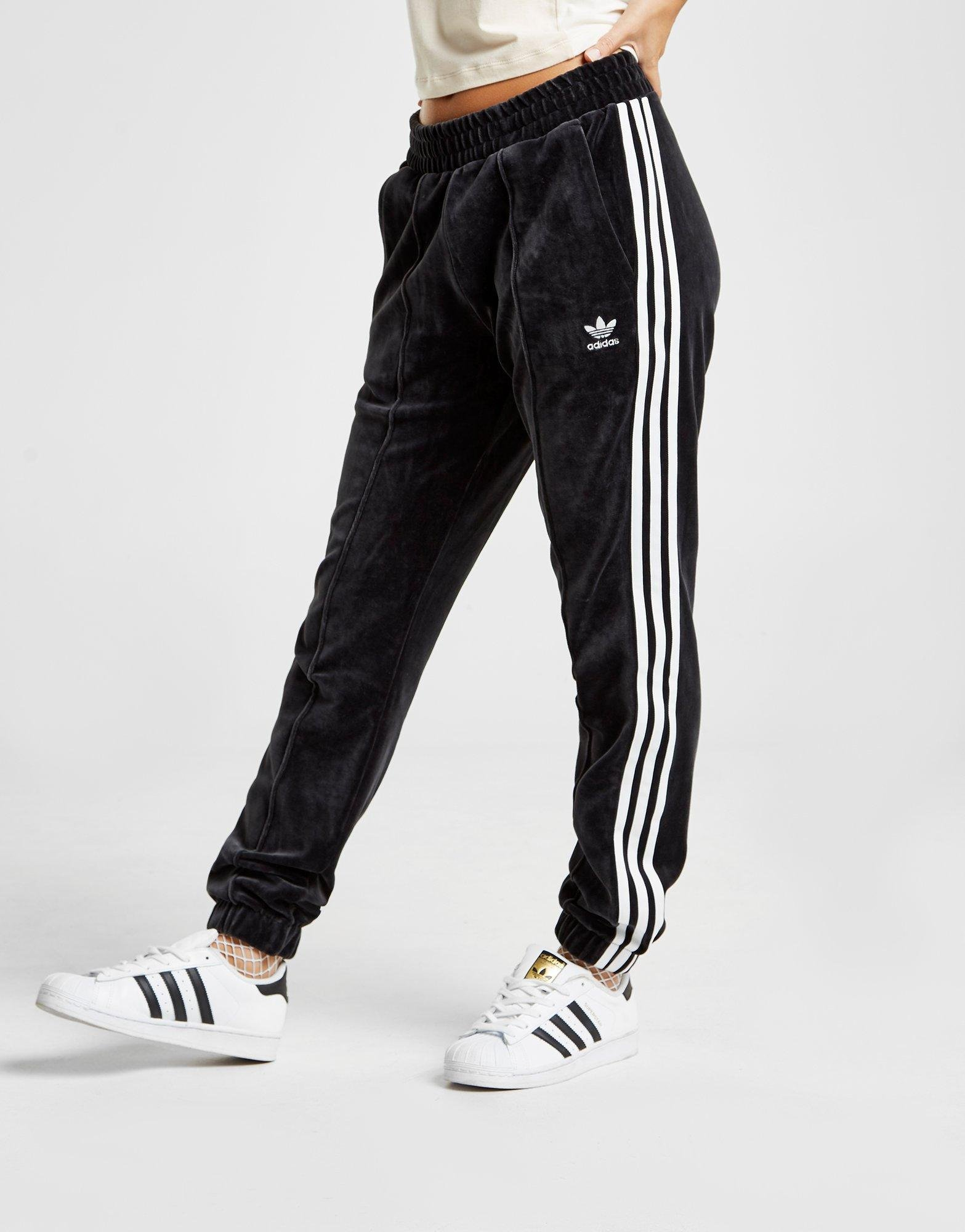 057f848db adidas Originals. Women's Black 3-stripes Velvet Track Trousers