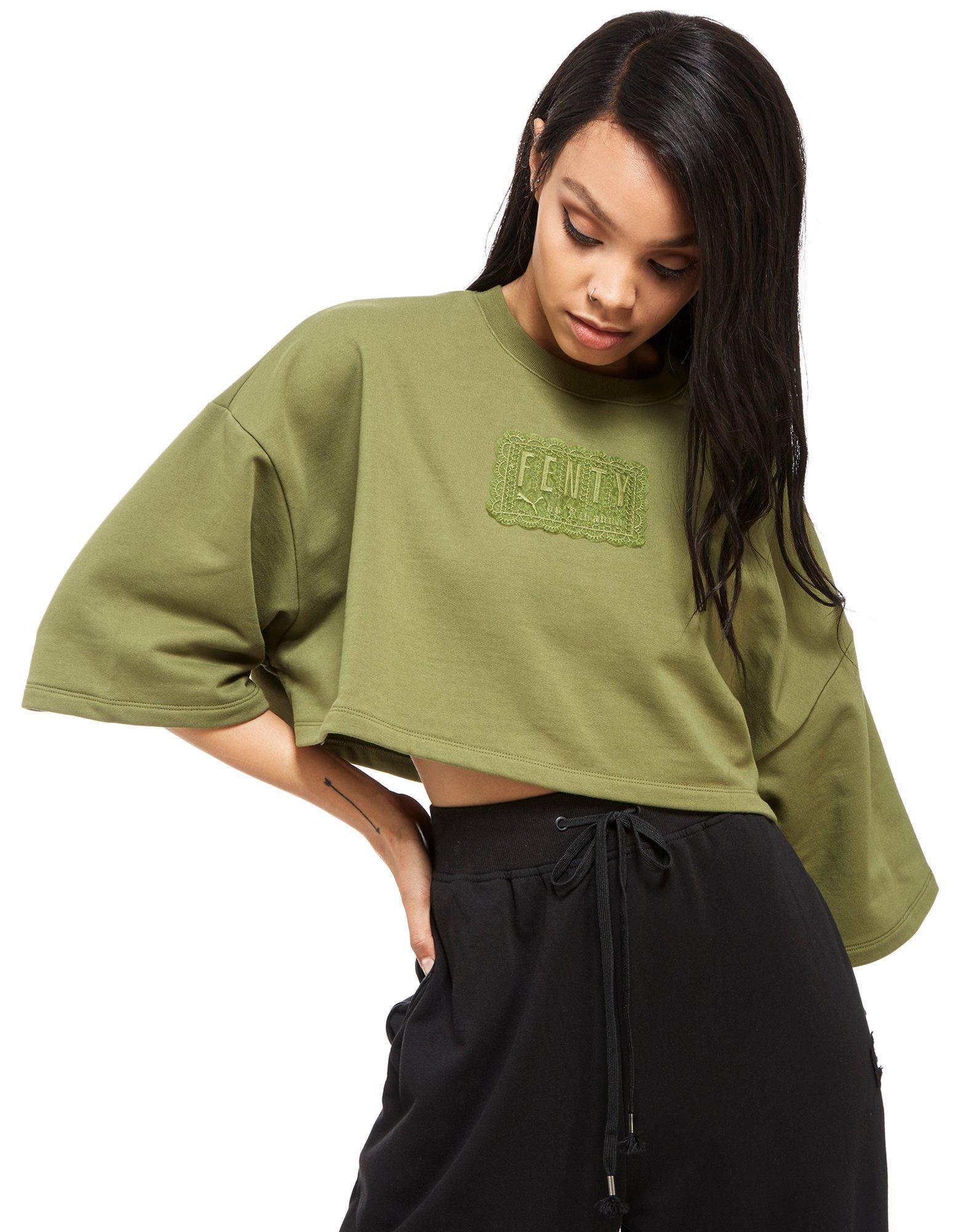 Lyst Puma X Fenty Crop T Shirt In Green