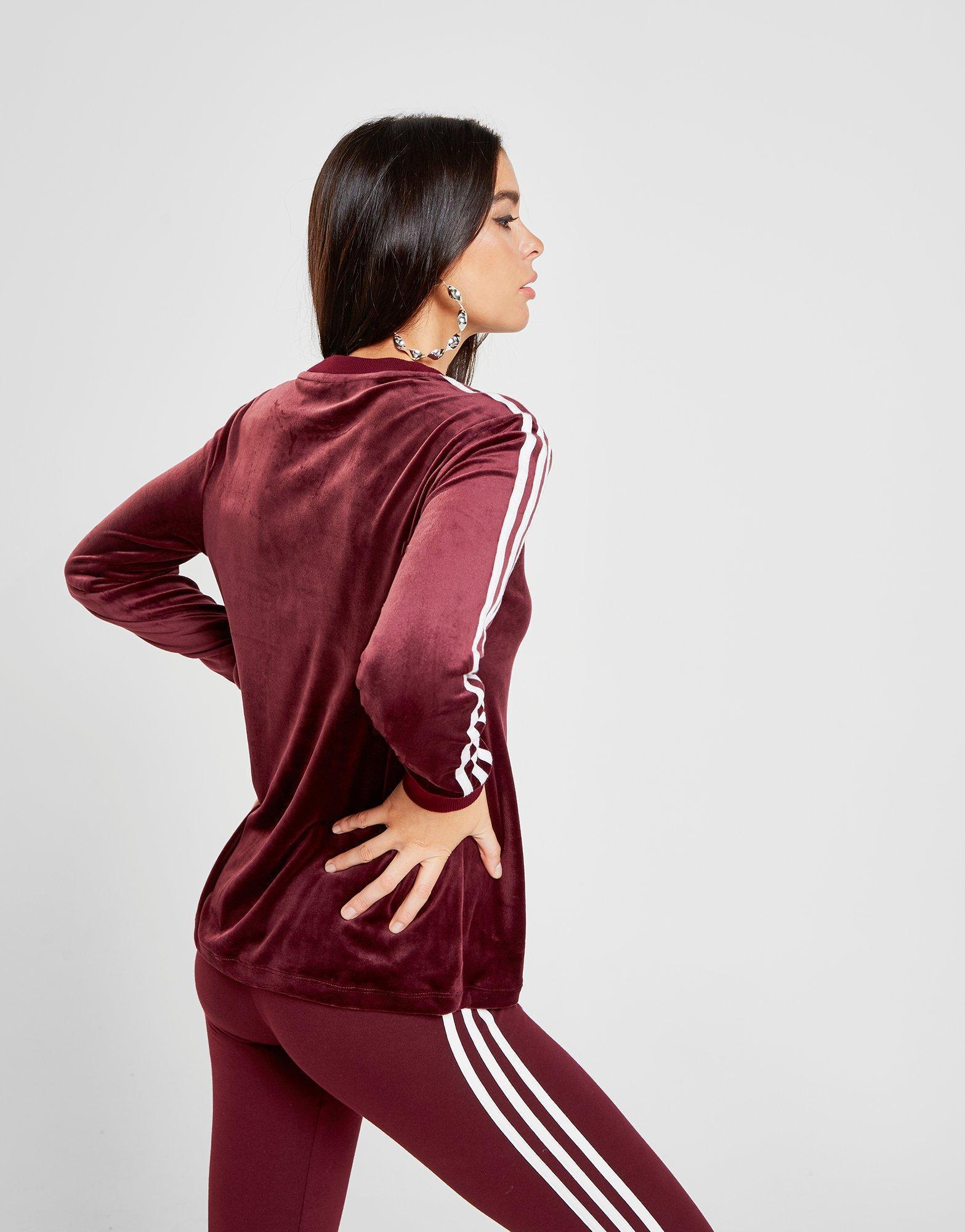 Adidas Originals 3 Stripes Velvet Long Sleeve California T Shirt In