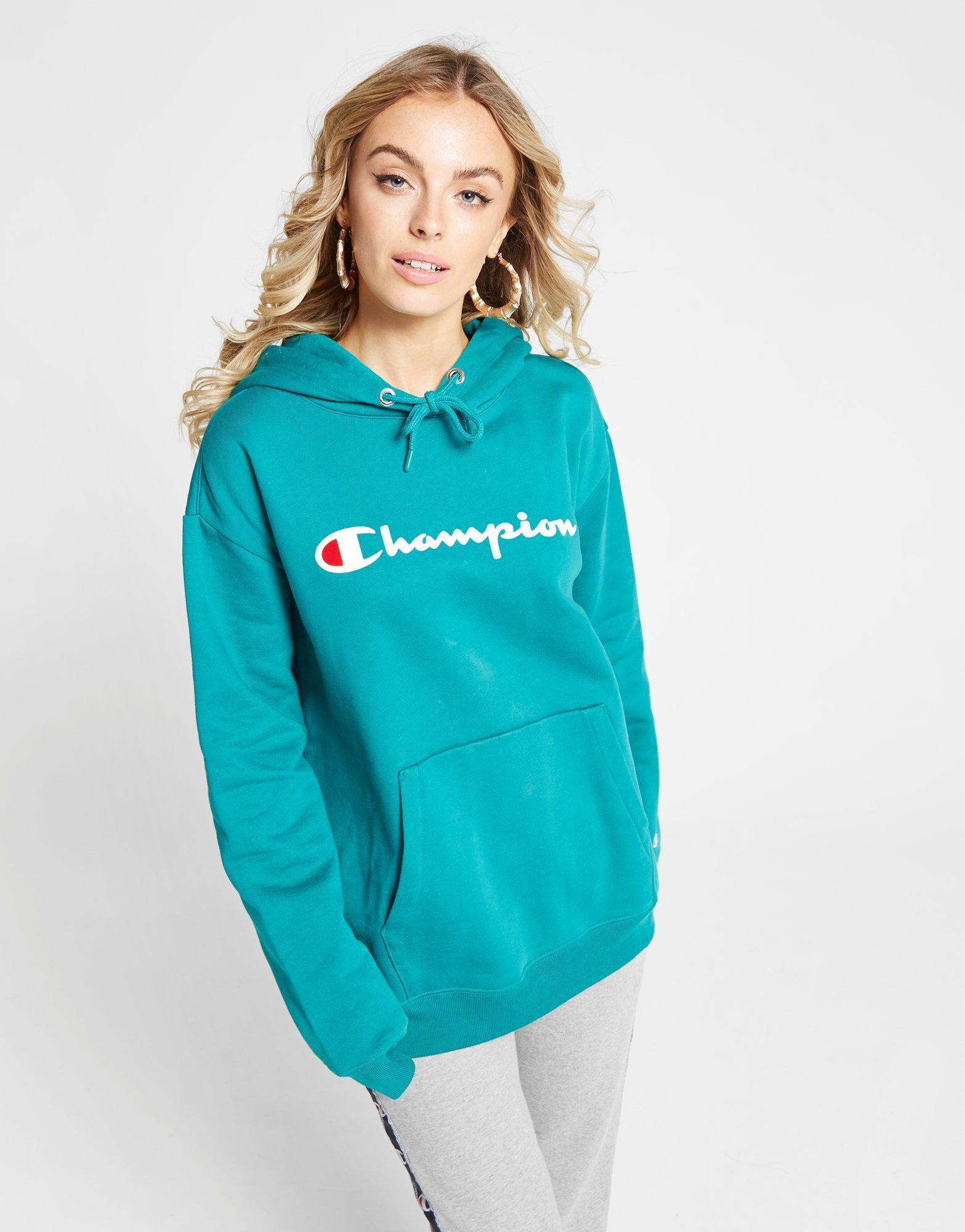 Champion - Blue Script Logo Boyfriend Hoodie - Lyst. View fullscreen f09832d58351