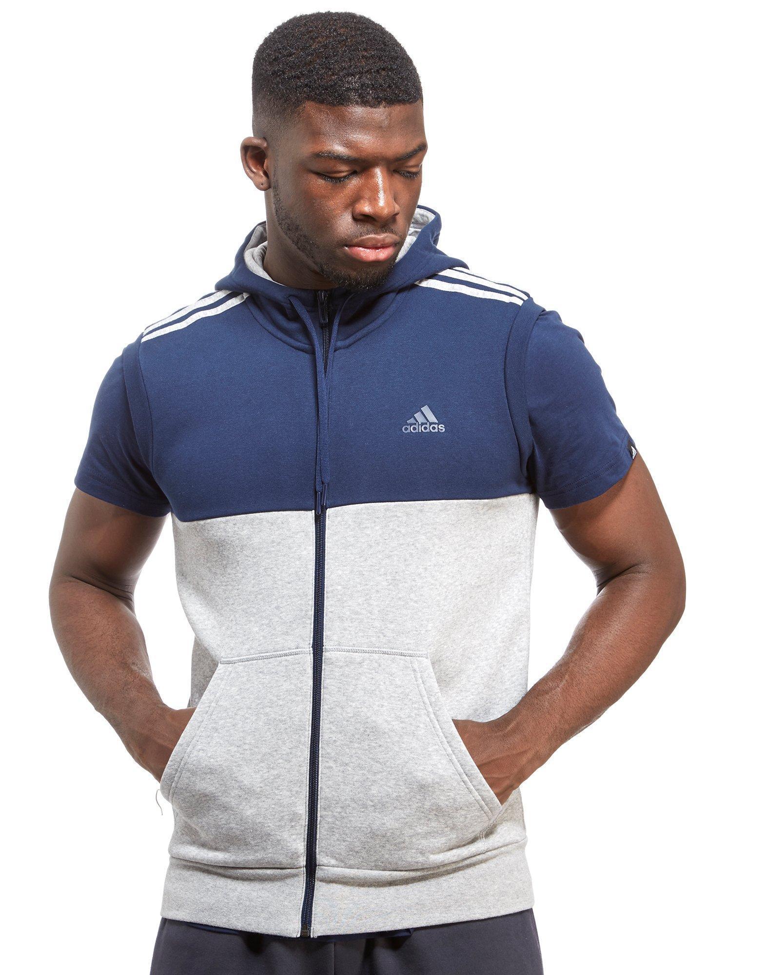 0c066b1214f616 adidas Linear Sleeveless Hoody in Blue for Men - Lyst