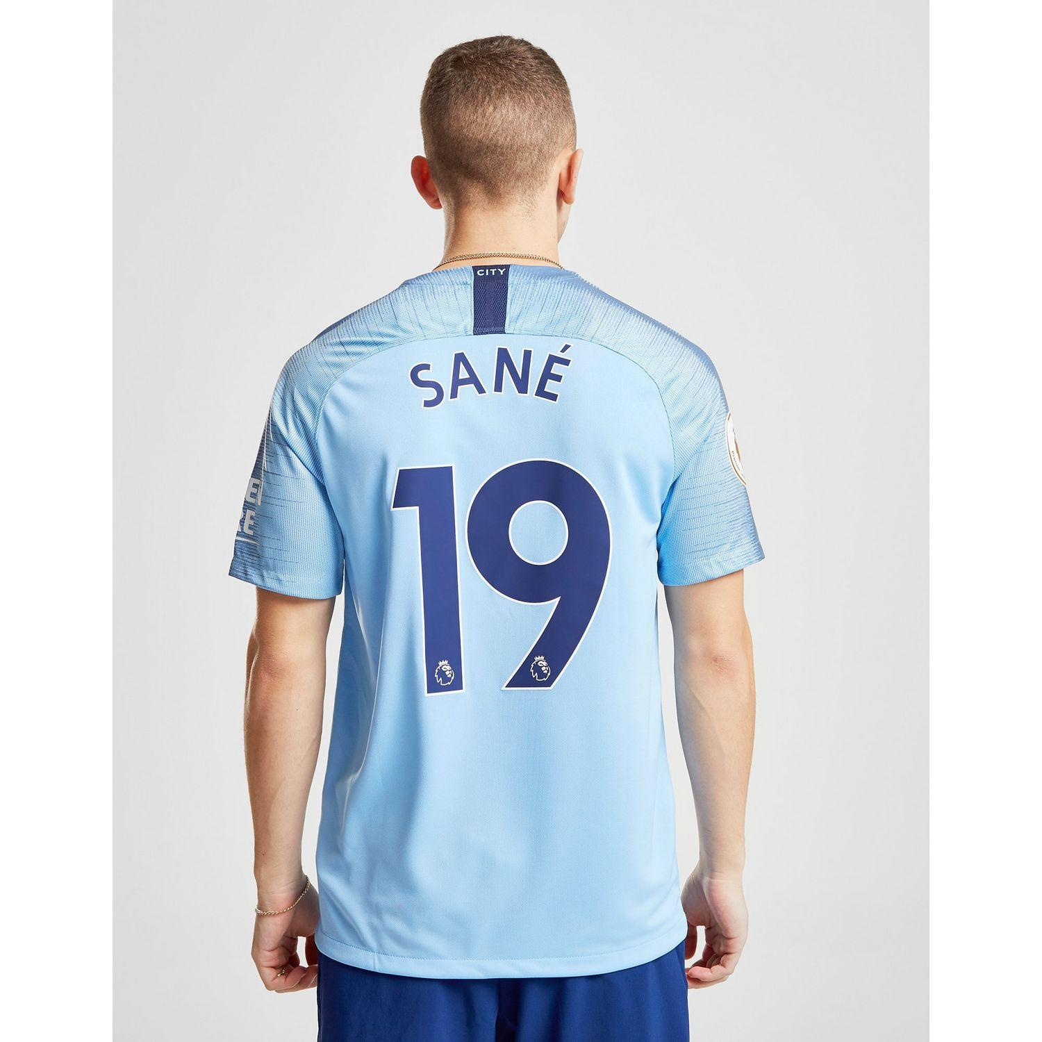 c55ad3278 Lyst - Nike Manchester City Fc 2018 19 Sane  19 Home Shirt in Blue ...