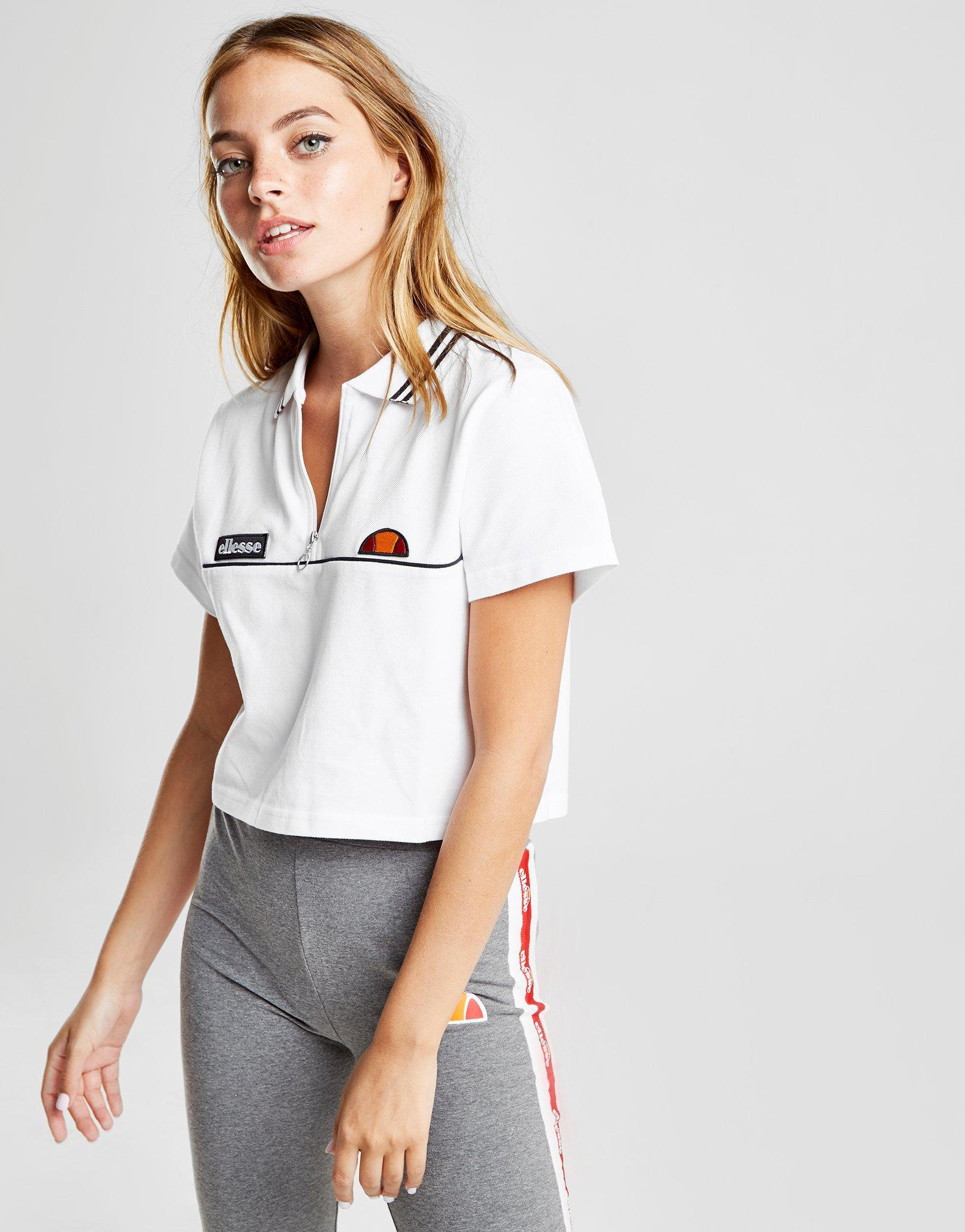 6e46e3be99a Ellesse Tipped Crop Polo Shirt in White - Lyst