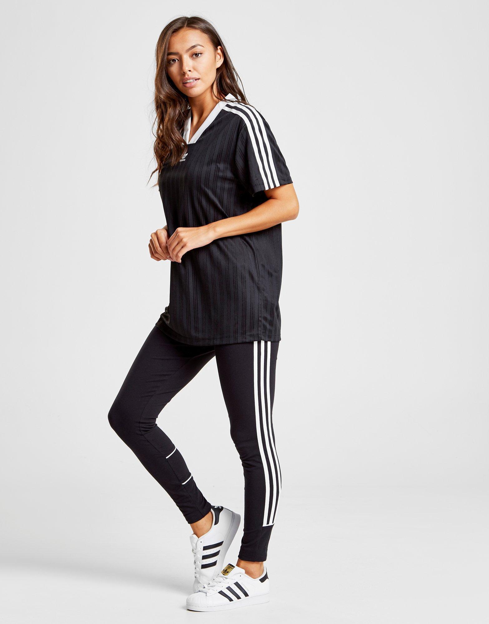 10a780cade6e Lyst - adidas Originals Stripe Football T-shirt in Black