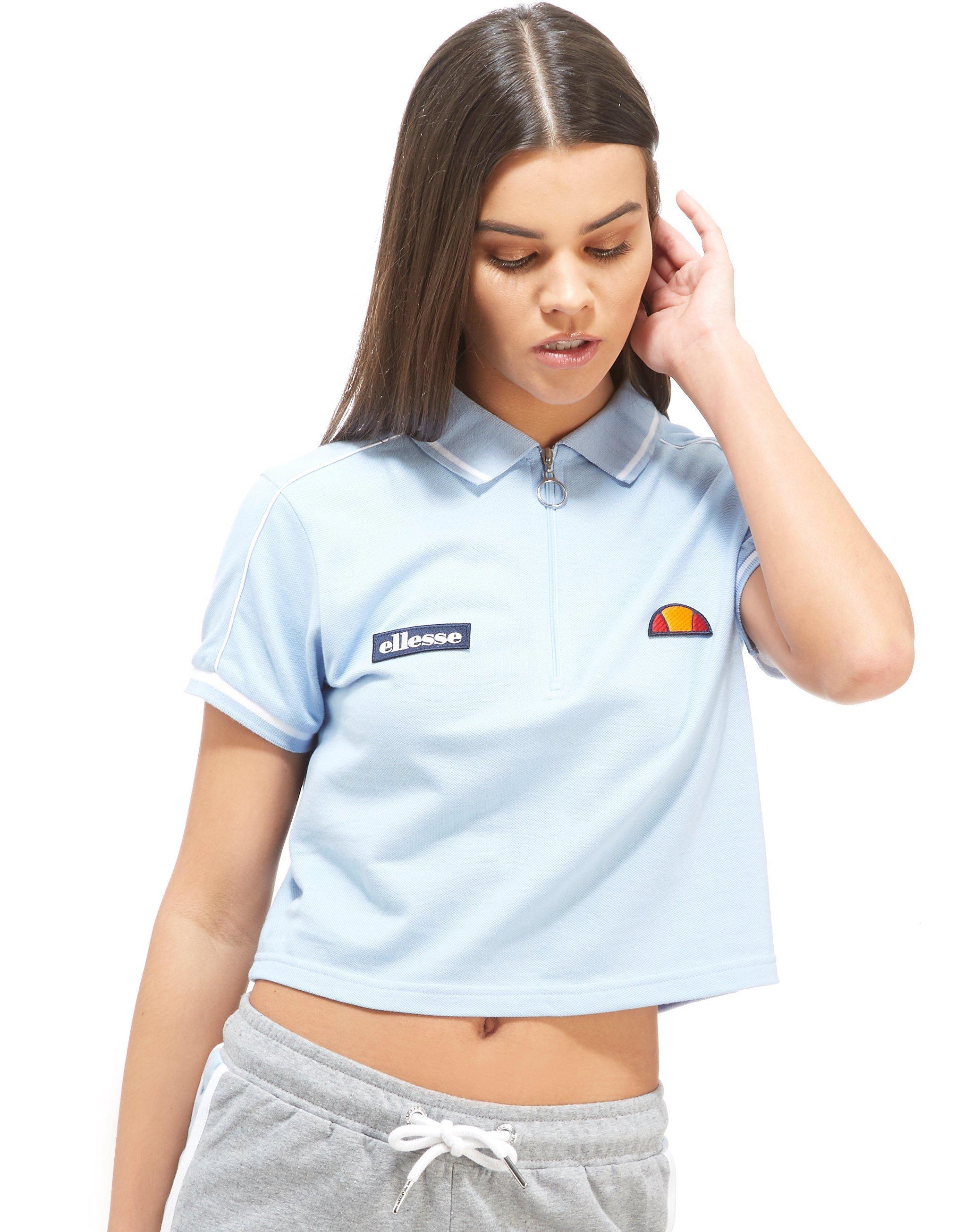c86ff52024e Ellesse Crop Zip Polo Shirt in Blue - Lyst