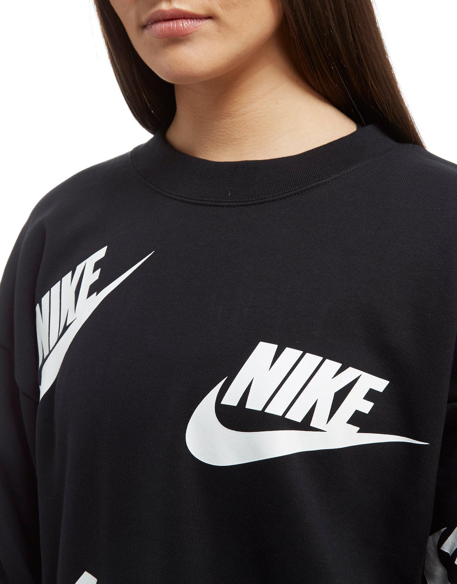 7b90acab9 Nike All Over Print Futura Crew Sweatshirt in Black - Lyst