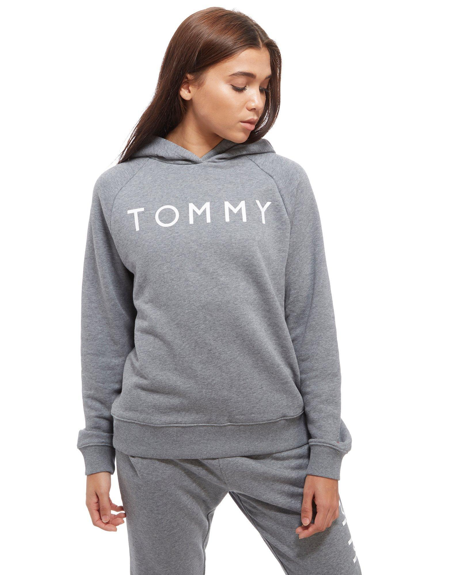 lyst tommy hilfiger ribbed hoody in gray. Black Bedroom Furniture Sets. Home Design Ideas