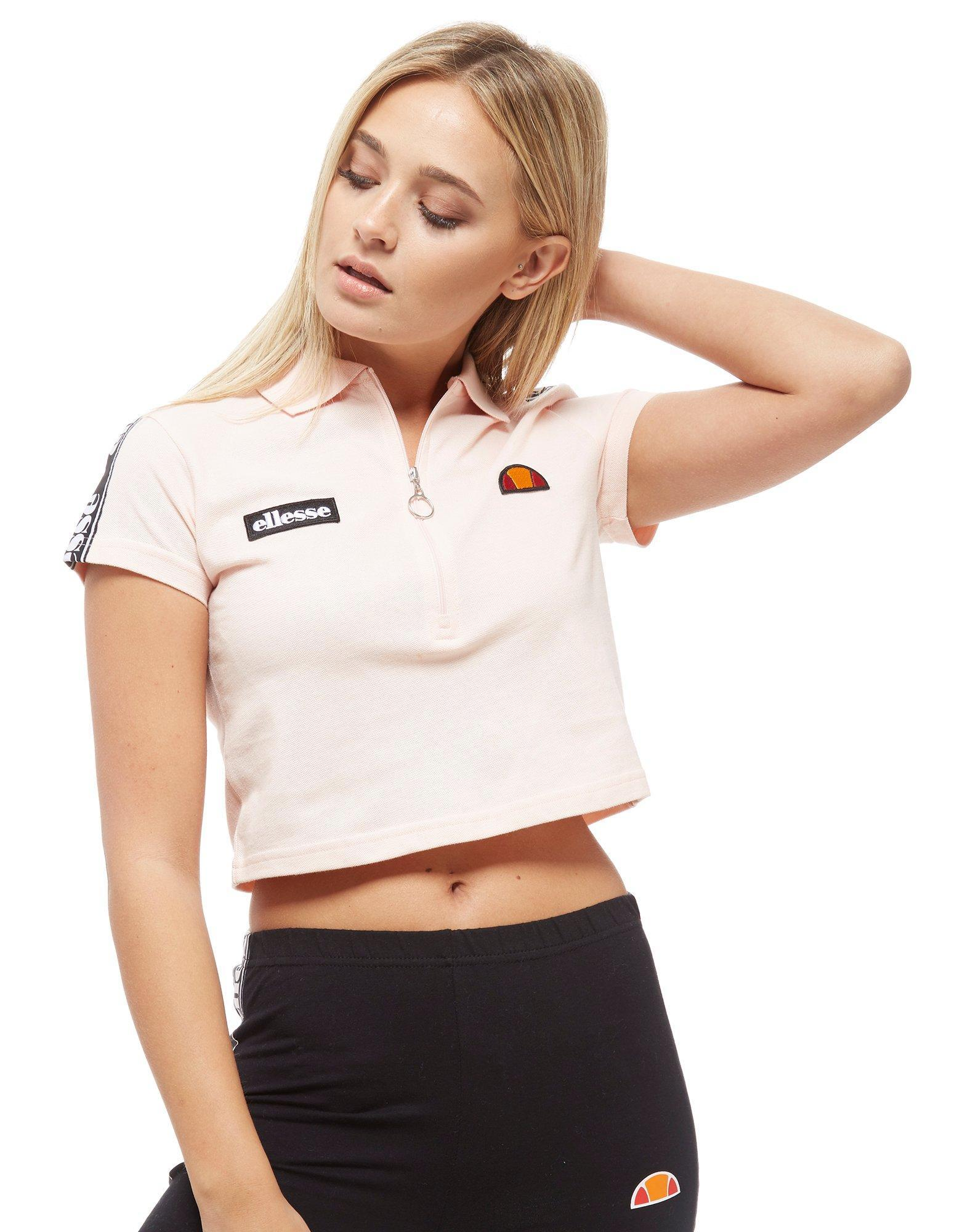 c6d2c3c07e8 Ellesse Tape Crop 1/2 Zip Polo Shirt in Pink - Lyst