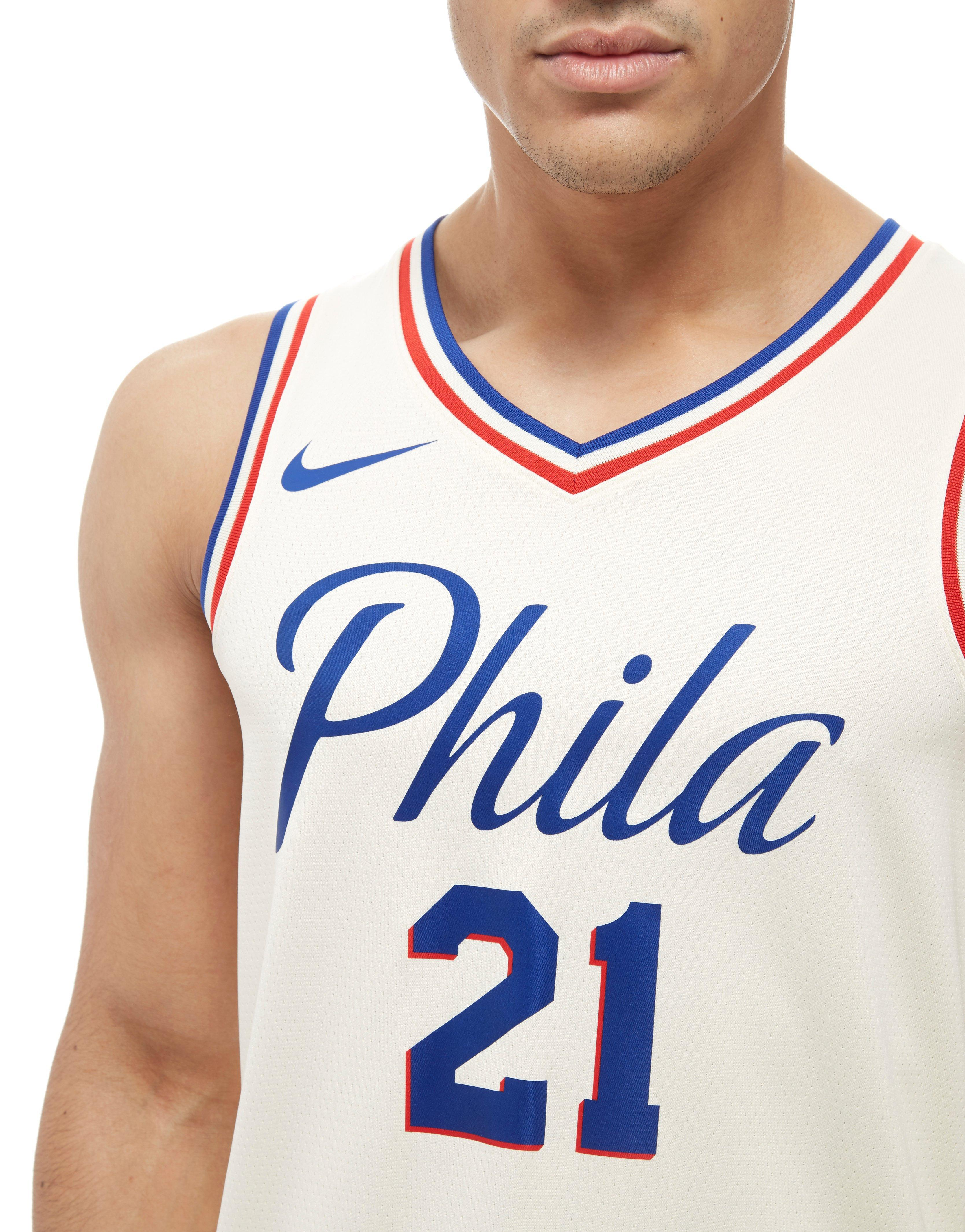 663eb2650 Nike Nba Embiid Philadelphia 76ers City Jersey in White for Men - Lyst