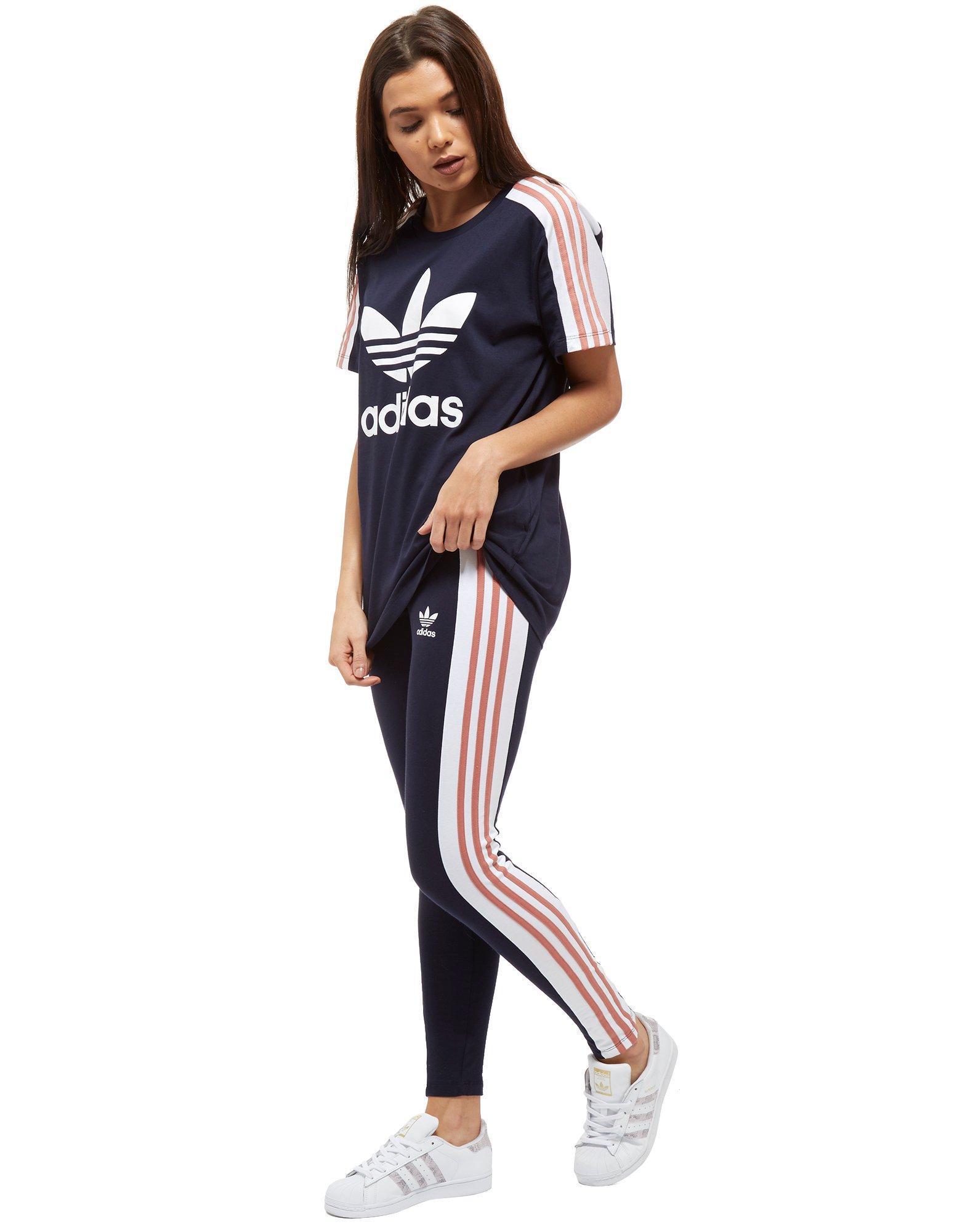 Adidas Originals Blue 3-stripes Panel Leggings