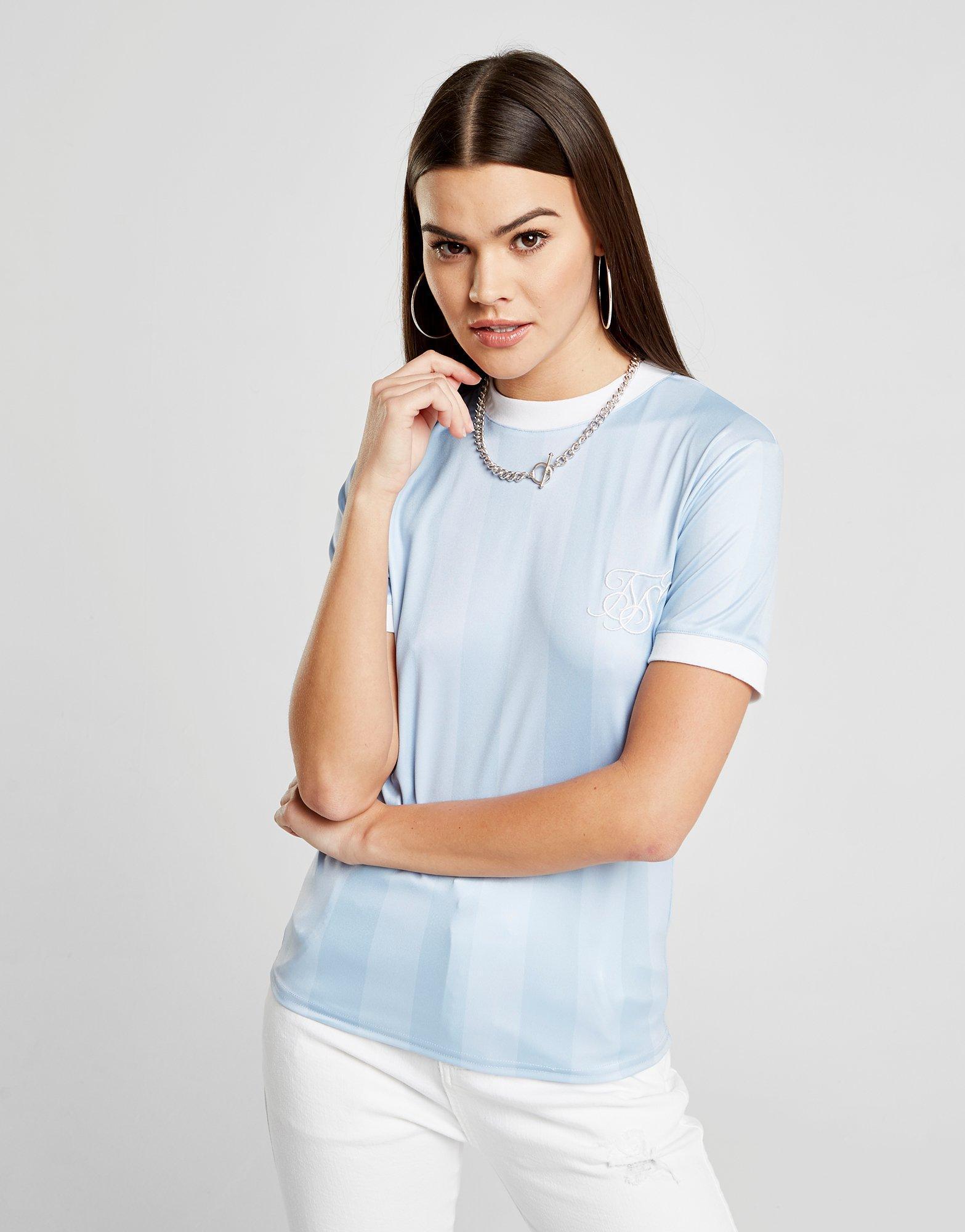Lyst - Siksilk Shadow Stripe T-shirt in Blue aba6202f29