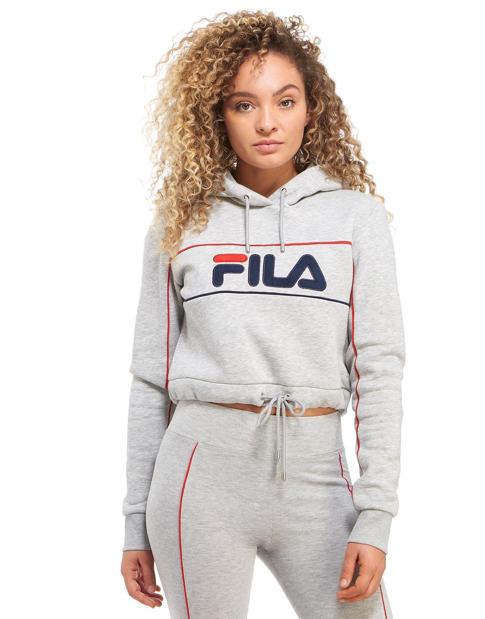 142f218e651869 Fila Pipe Logo Crop Hoodie in Gray - Lyst