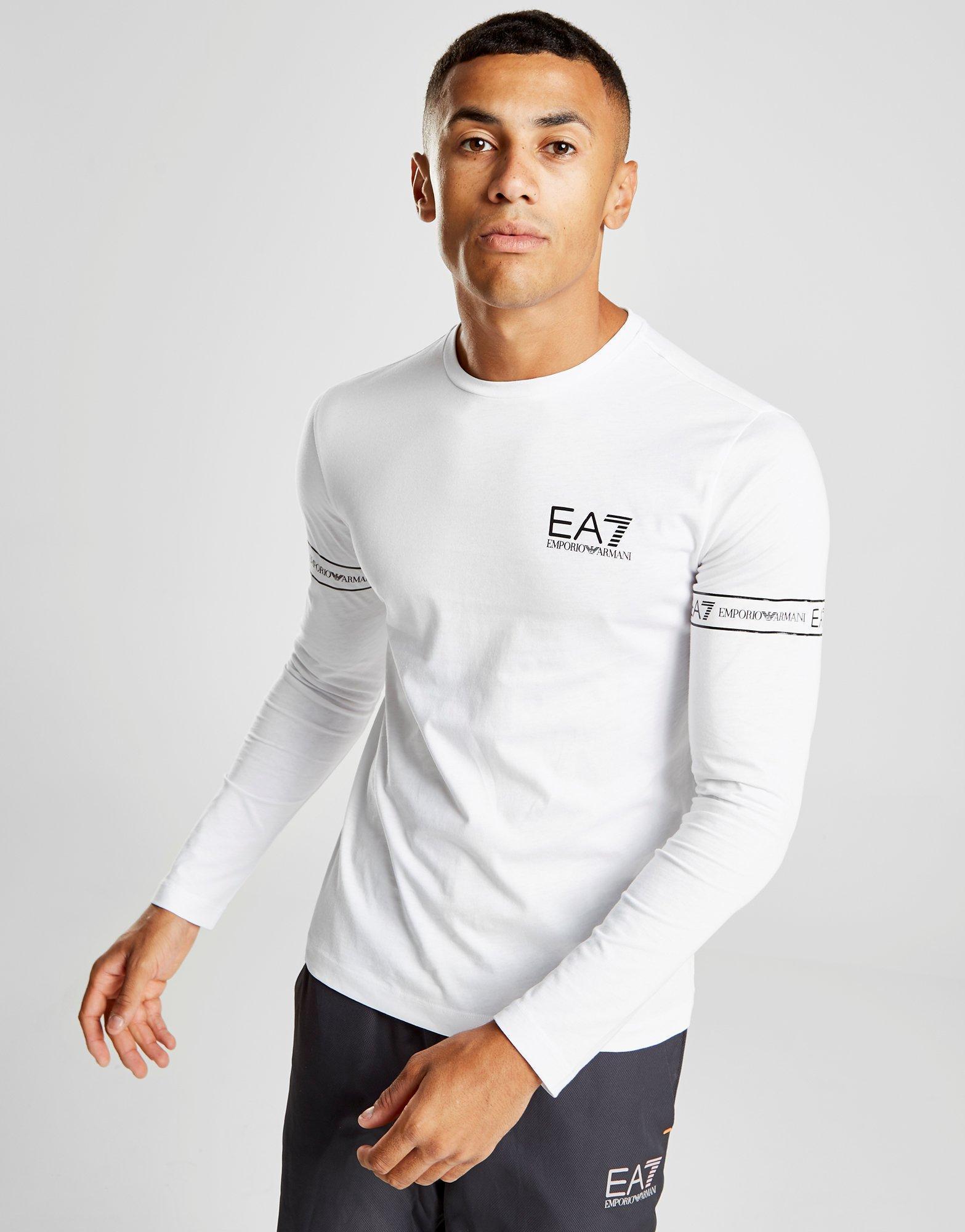 c24cf8d12557 EA7 Long Sleeve Tape T-shirt in White for Men - Lyst