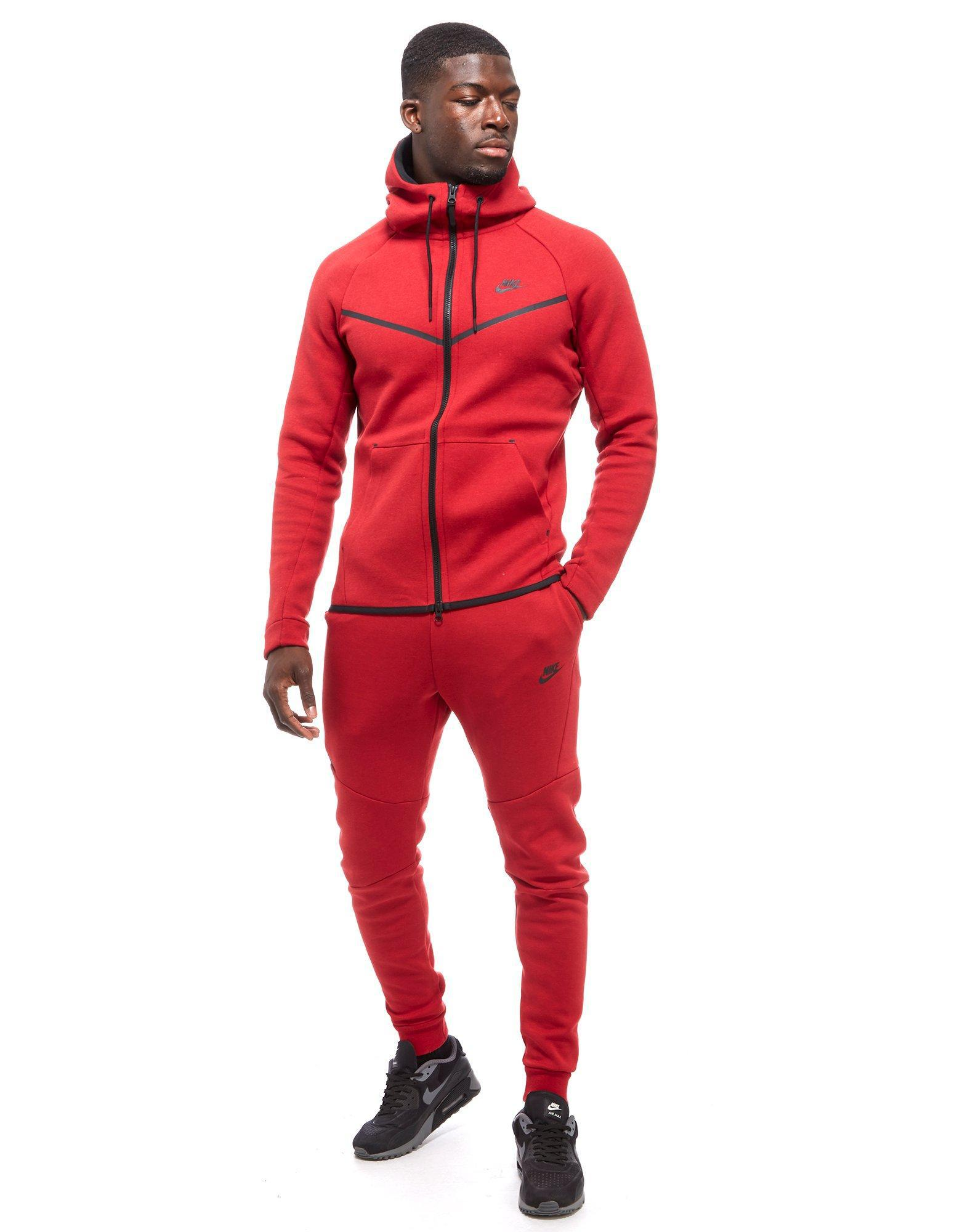 621b7db01703 Lyst - Nike Tech Full Zip Hoody in Red for Men