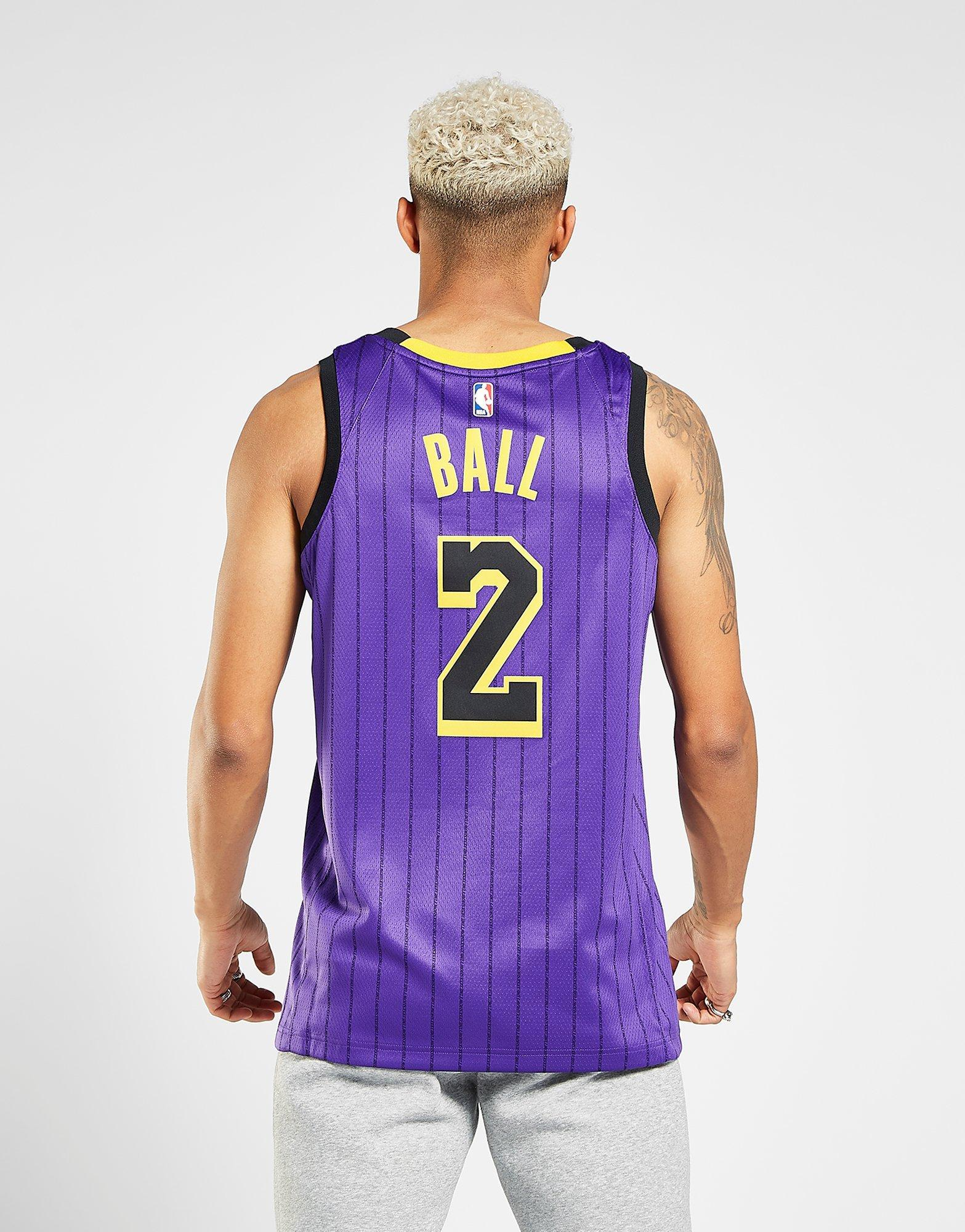 2d137e19d ... authentic nike lonzo ball city edition swingman los angeles lakers mens  nba connected jersey in purple