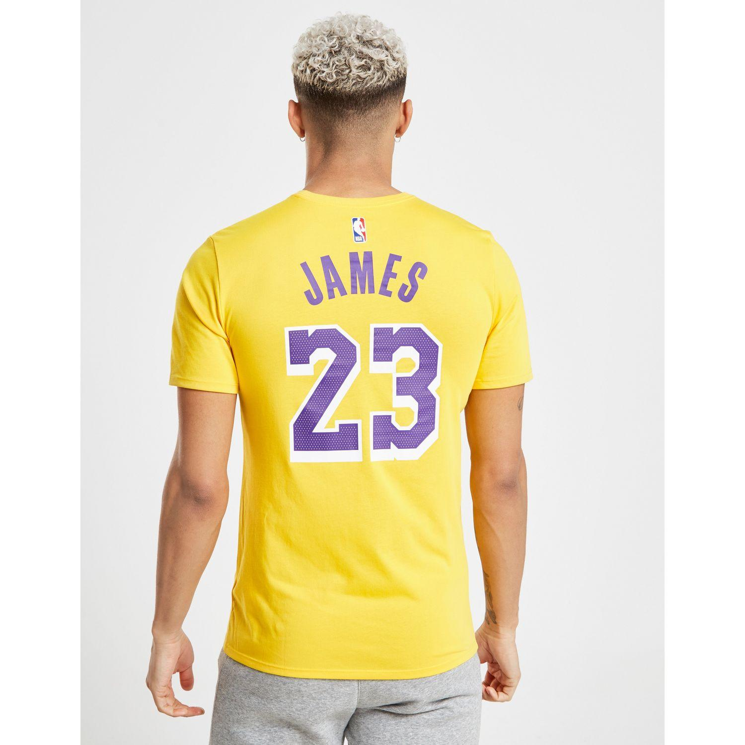 995d0db2b2a1 Nike Nba Los Angeles Lakers Lebron James #23 T-shirt in Yellow for ...