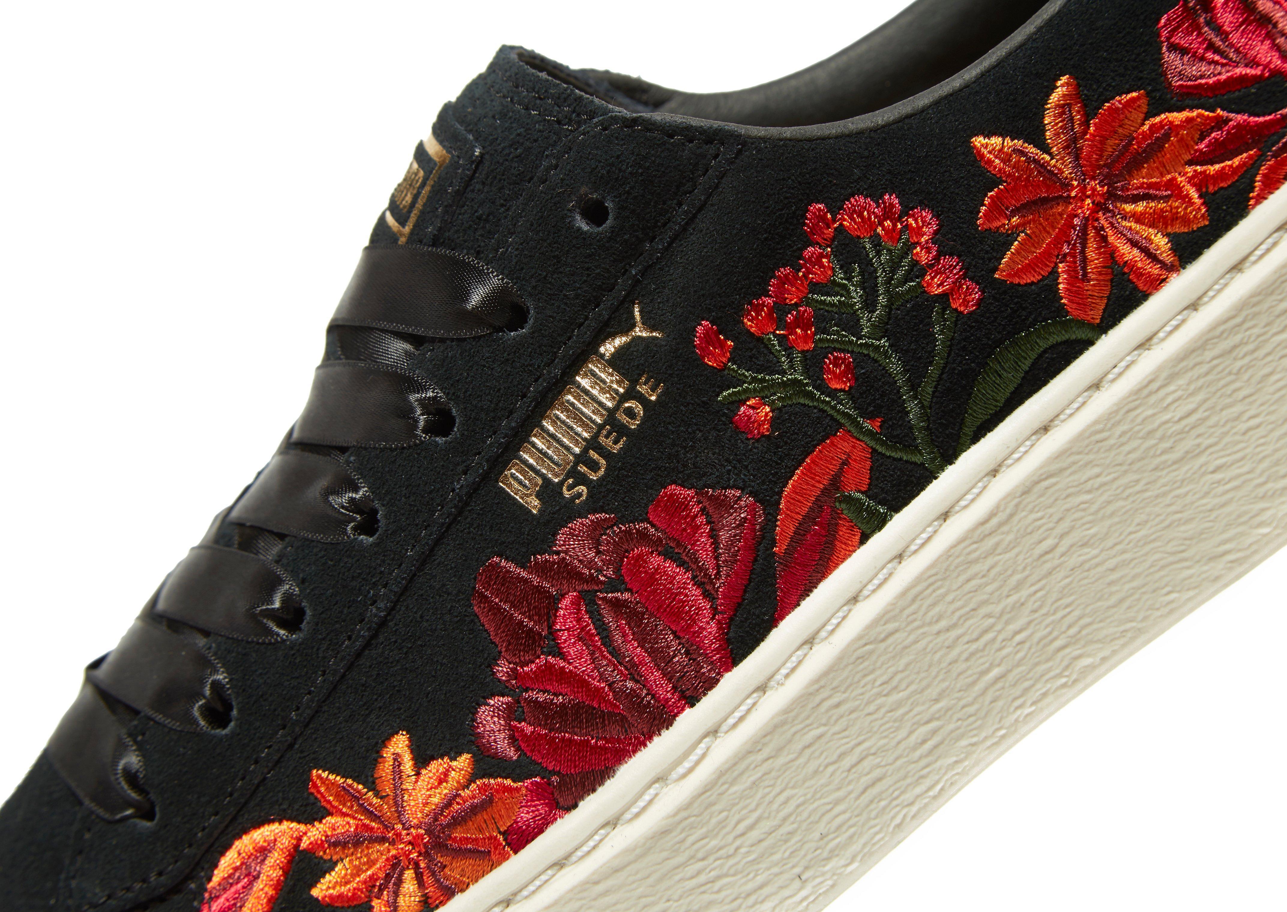 02c28f70ca69 PUMA Suede Platform Floral in Black - Lyst