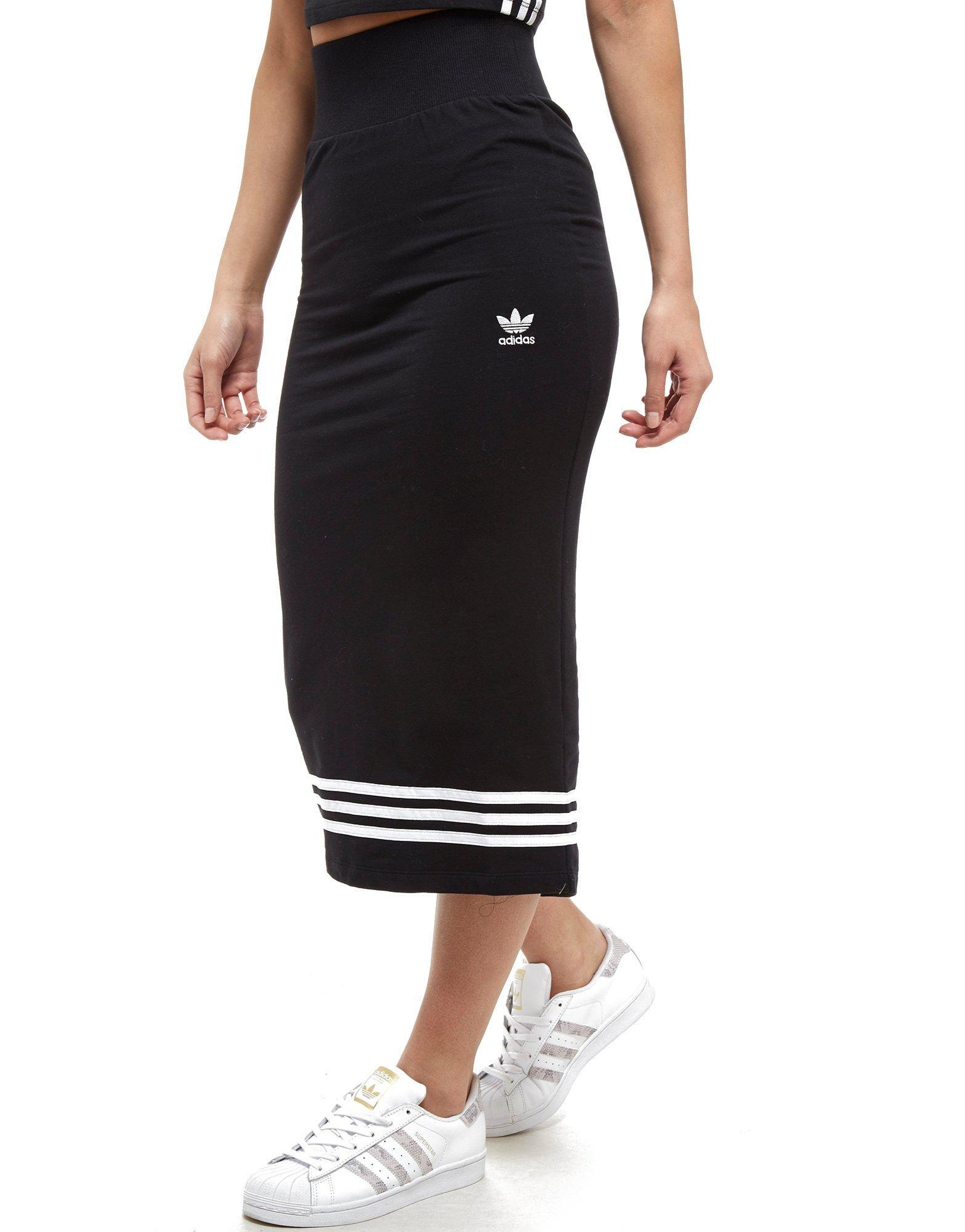 3e66bfc9f9d95 Lyst - adidas Originals 3-stripes Midi Skirt in Black