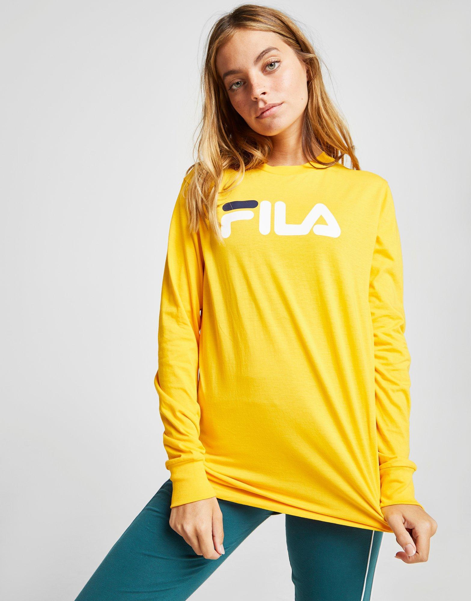 08b7bda9243 Fila Long Sleeve Boyfriend T-shirt in Yellow - Lyst