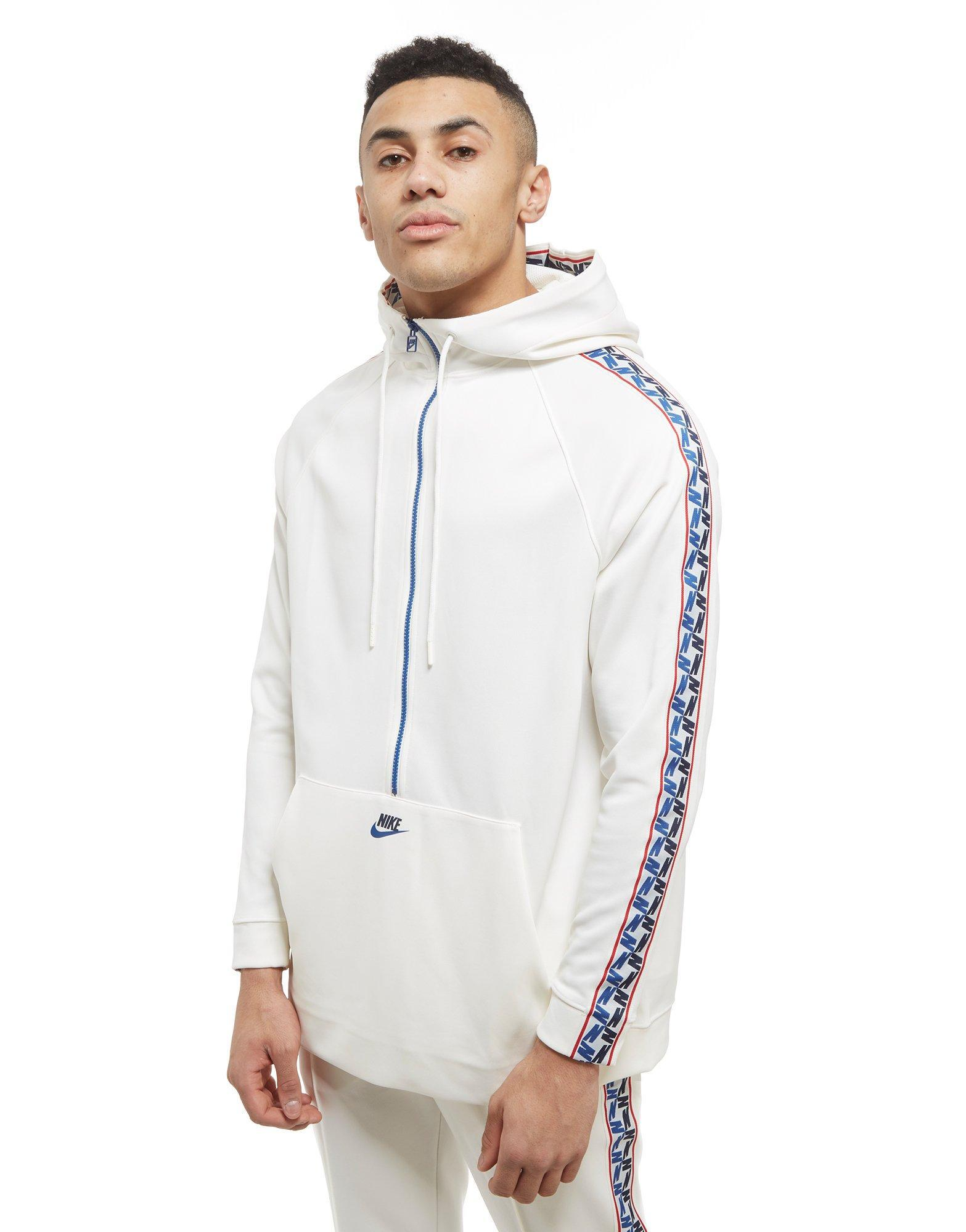 986845e8b2 Nike Tape Poly 1/2 Zip Hoodie in White for Men - Lyst