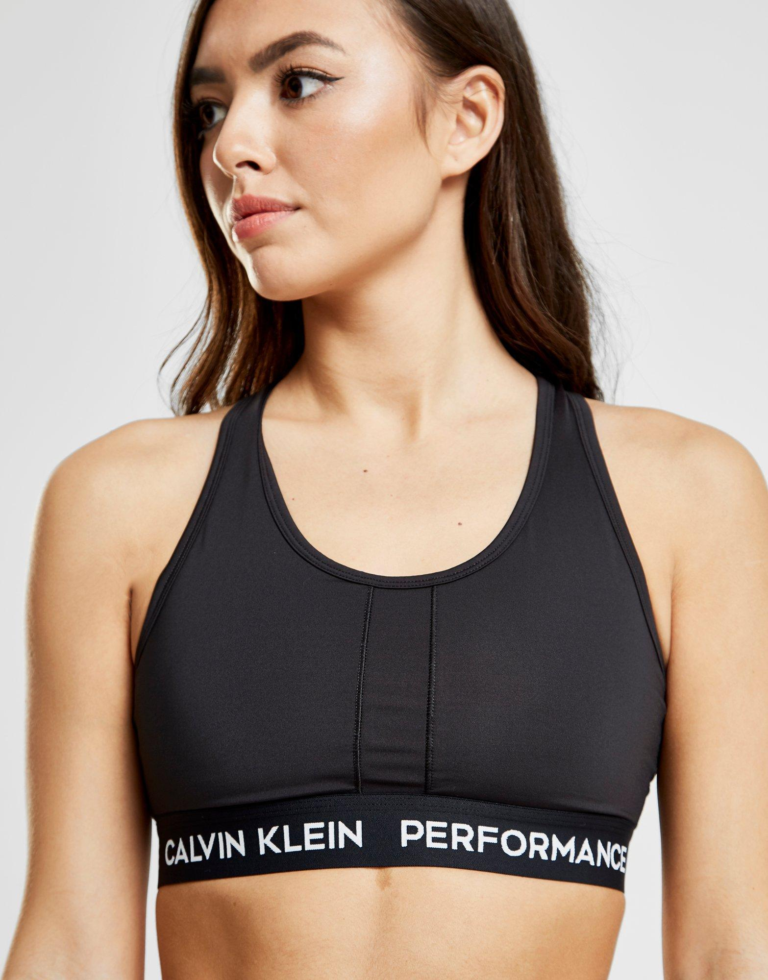 9f8dcde8e0f Lyst - Calvin Klein Performance Panel High Support Bra in Black