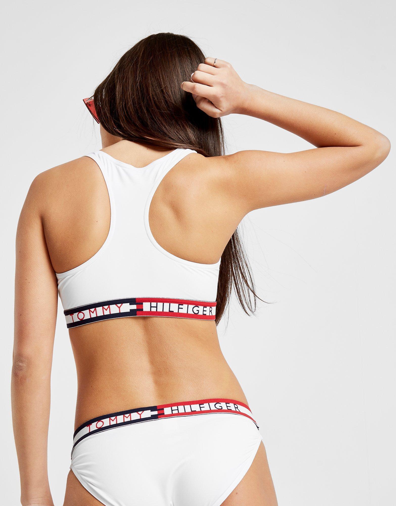 5781440ab7 Tommy Hilfiger Racerback Bikini Top in White - Lyst