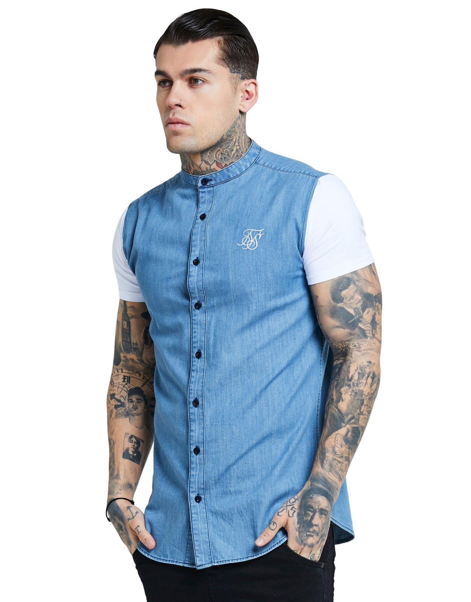 9a6ce0fdb SIKSILK Mid Denim Short Sleeve Shirt in Blue for Men - Lyst