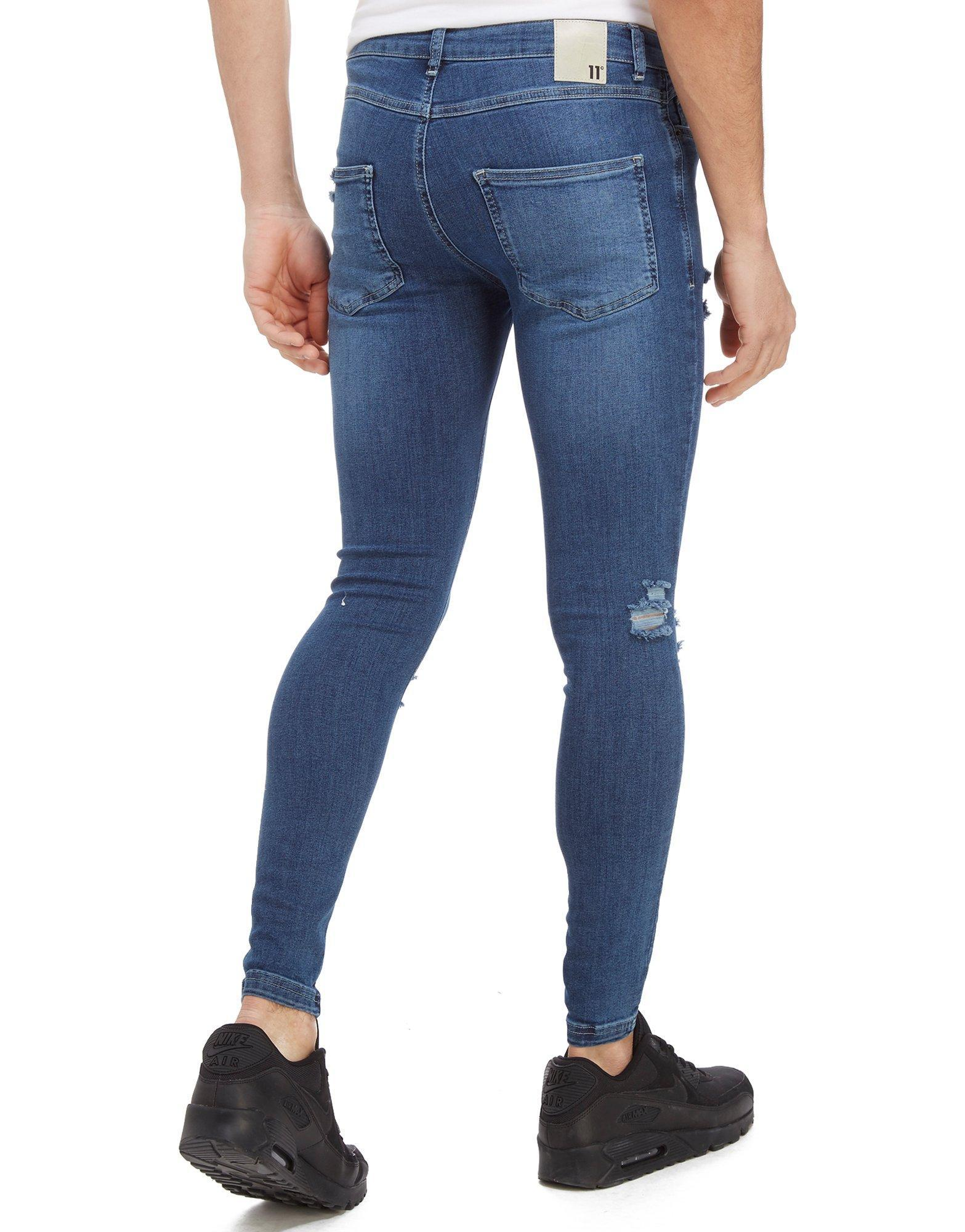 Lyst - 11 Degrees Ripped Denim Jeans in Blue for Men - Save  30.158730158730165% 1e566bb77a4a