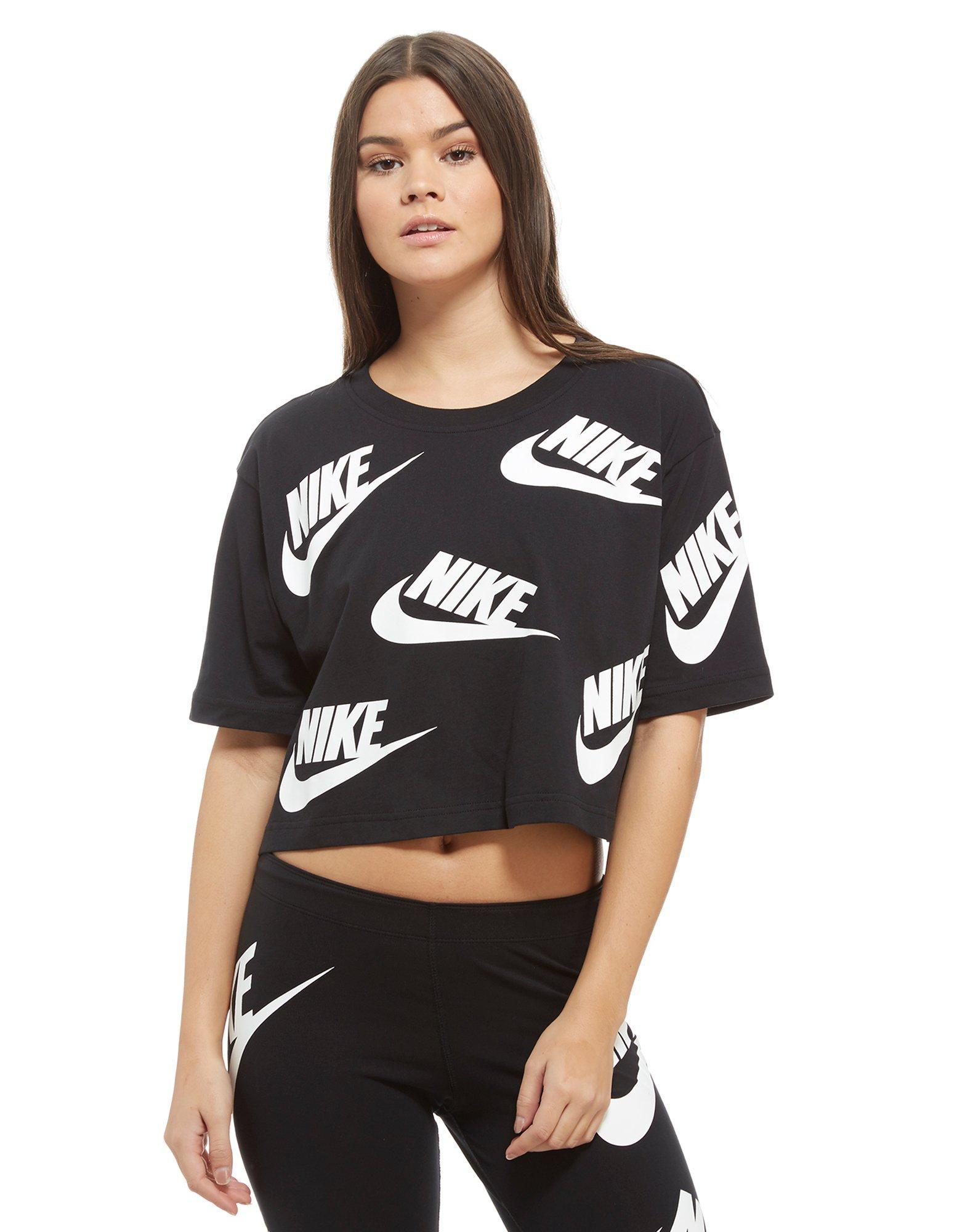 7819862f776b Lyst - Nike All Over Print Futura Crop T-shirt in Black