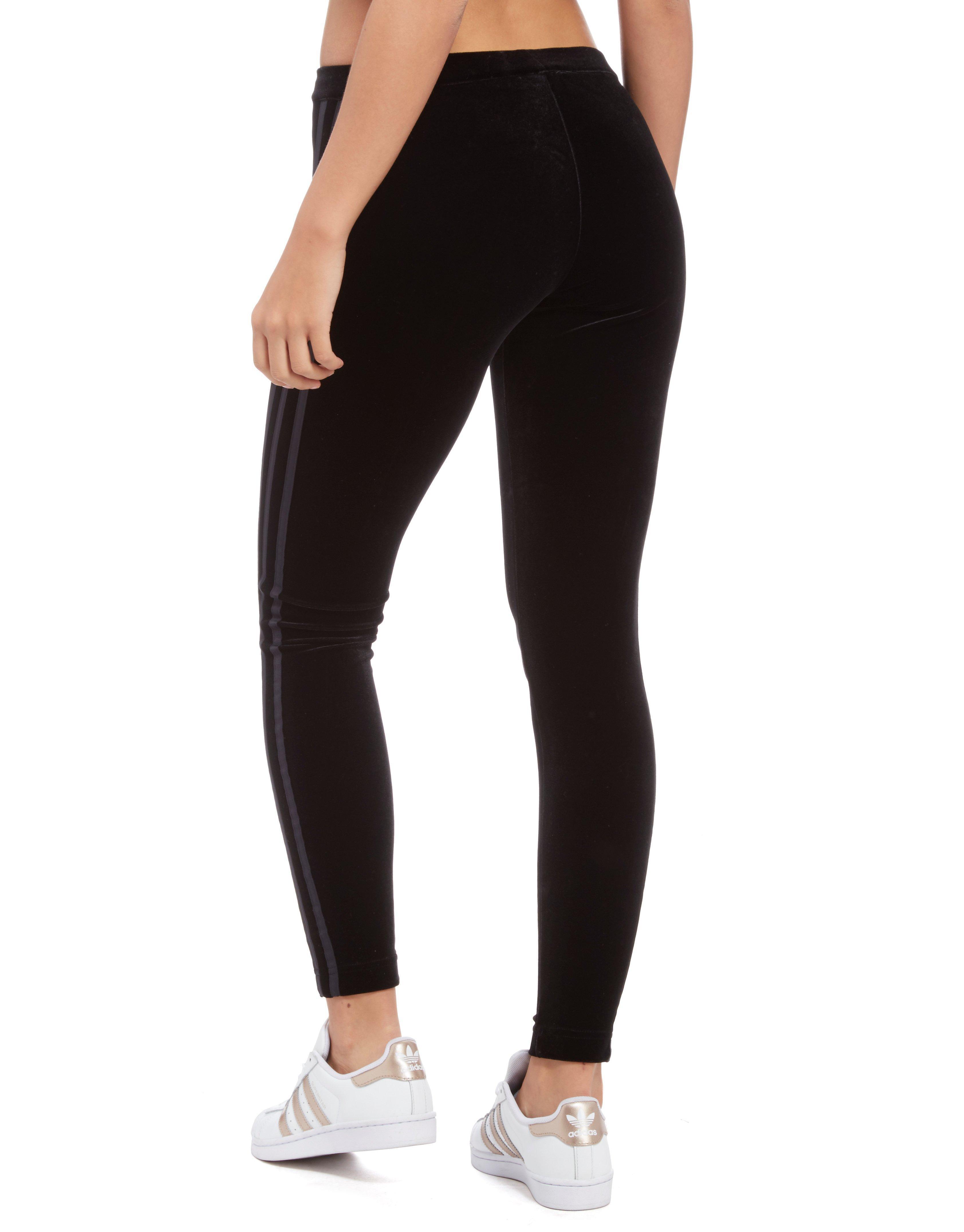70e2744734724 adidas Originals 3-stripes Trefoil Velvet Leggings in Black - Lyst