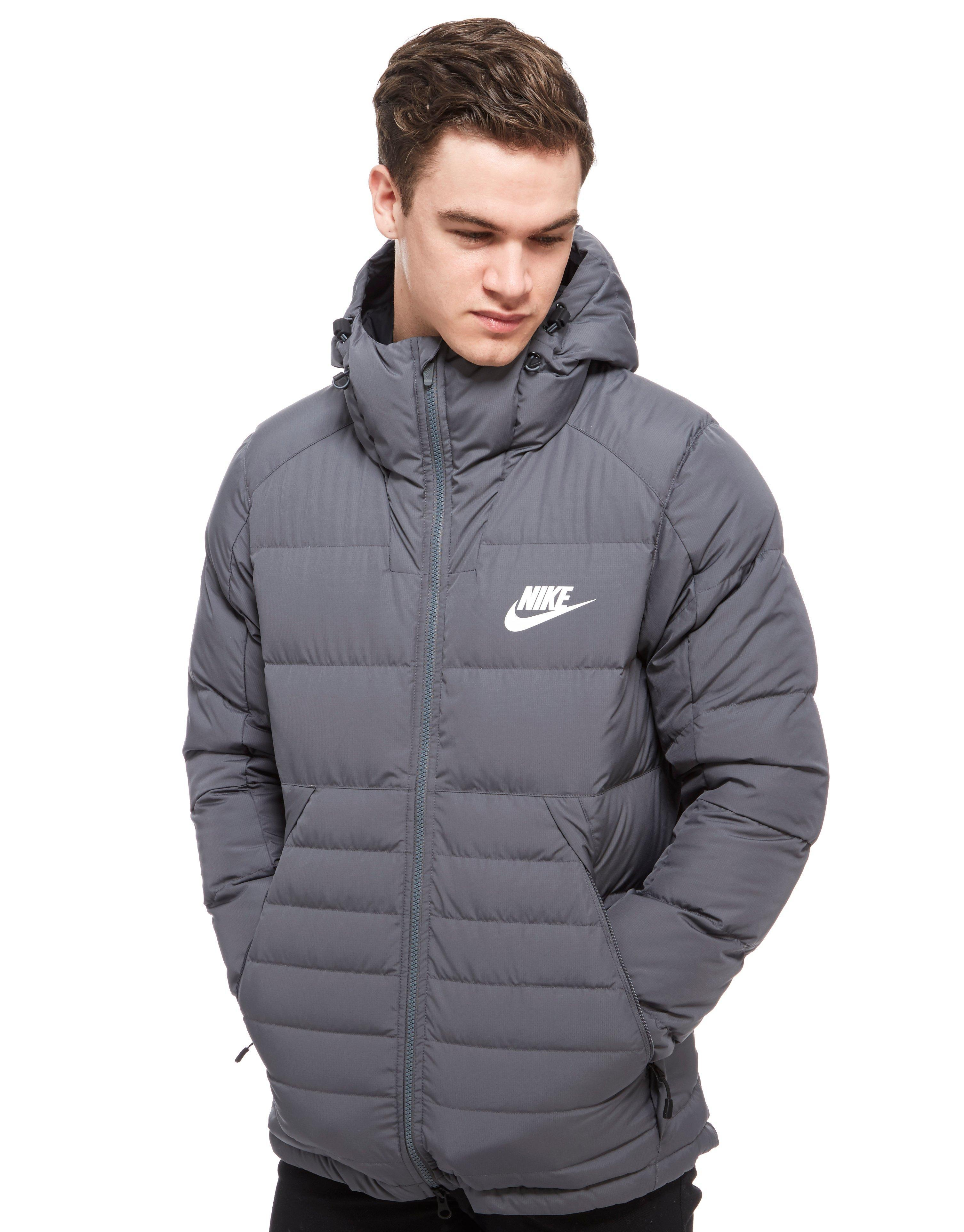 Nike Padded Down Hooded Jacket In Gray For Men Lyst