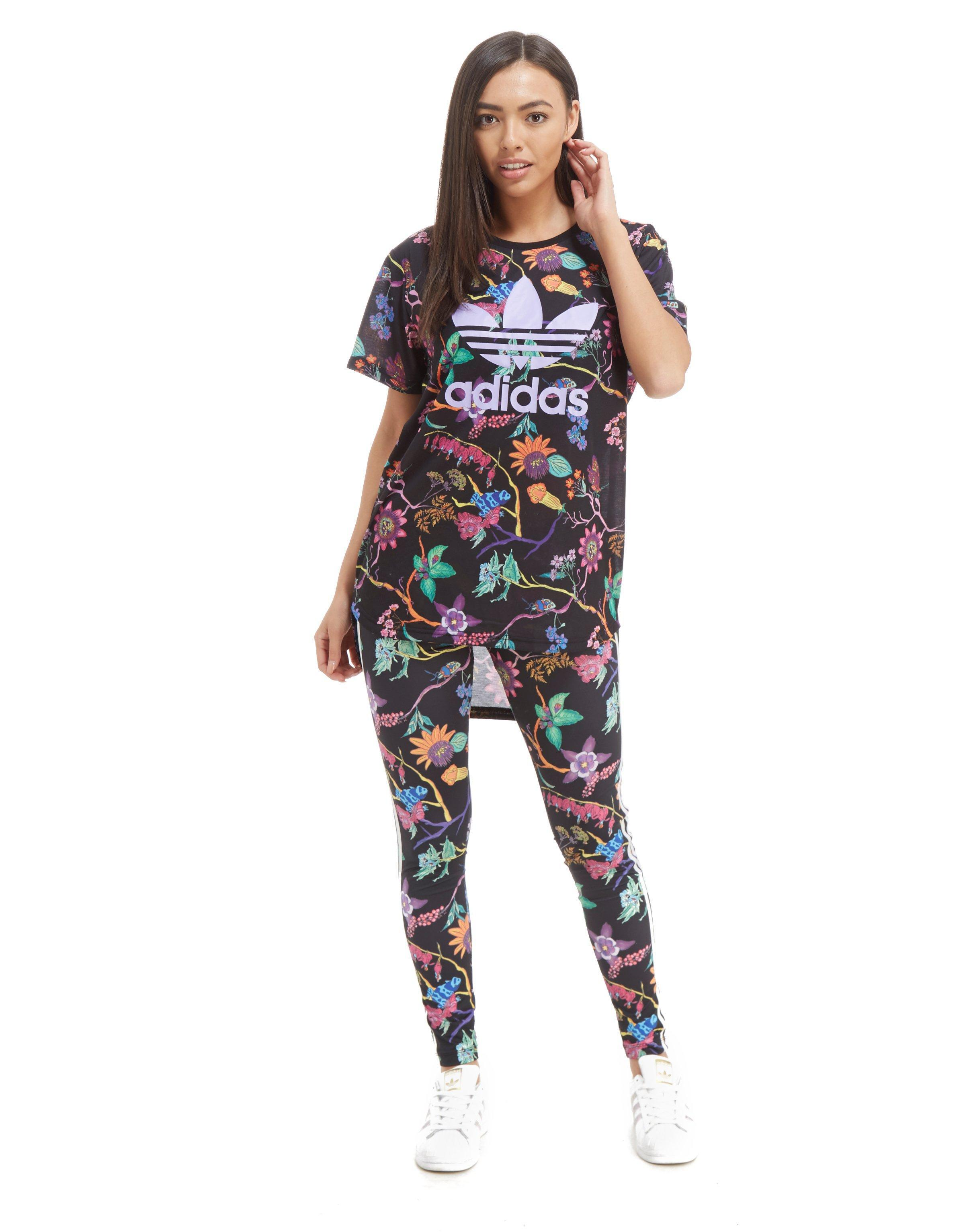 86b543ebfd0 adidas Originals Longline Trefoil All Over Print T-shirt - Lyst