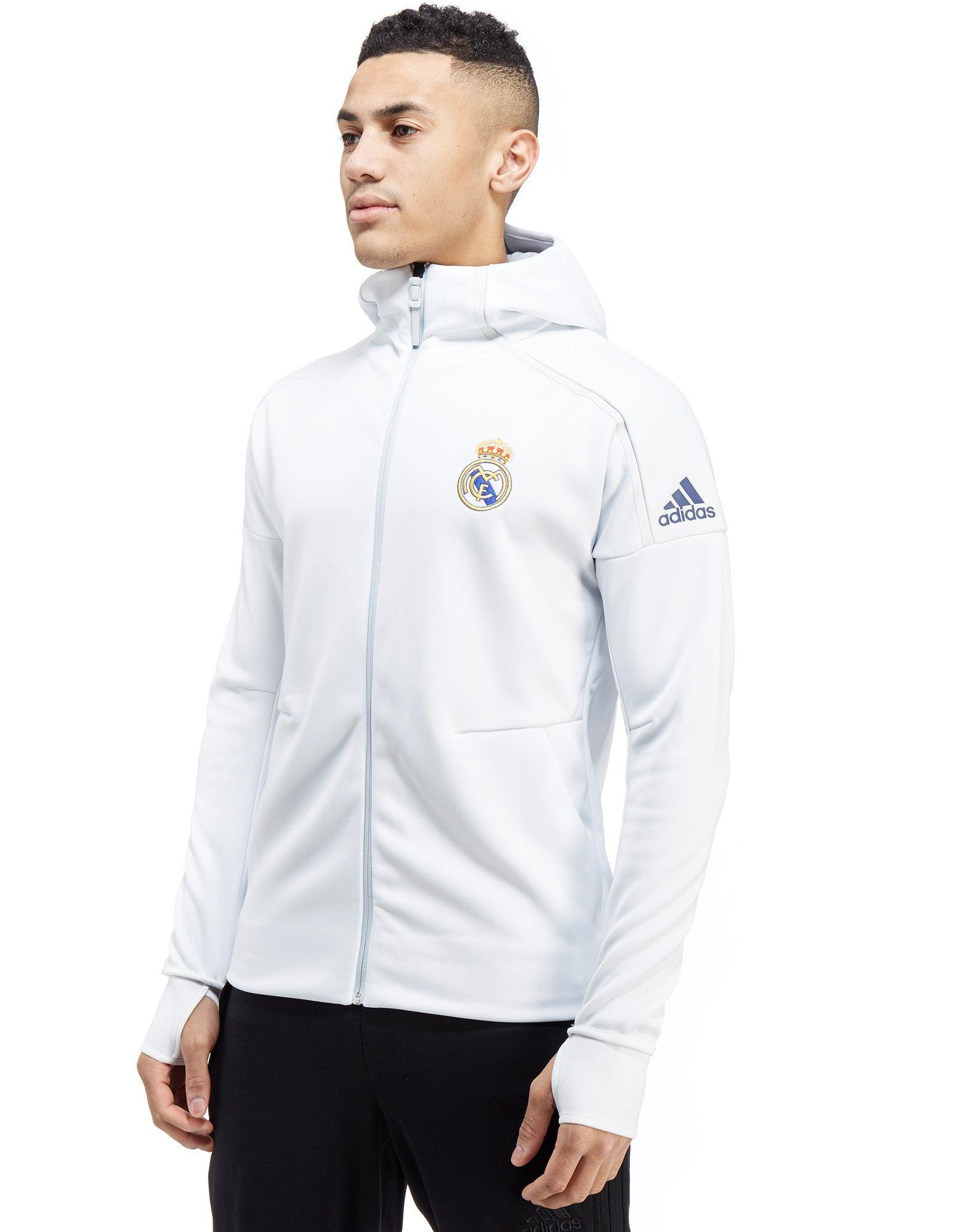 43521f493021 Lyst - adidas Originals Real Madrid Zne Anthem Hoody in White for Men