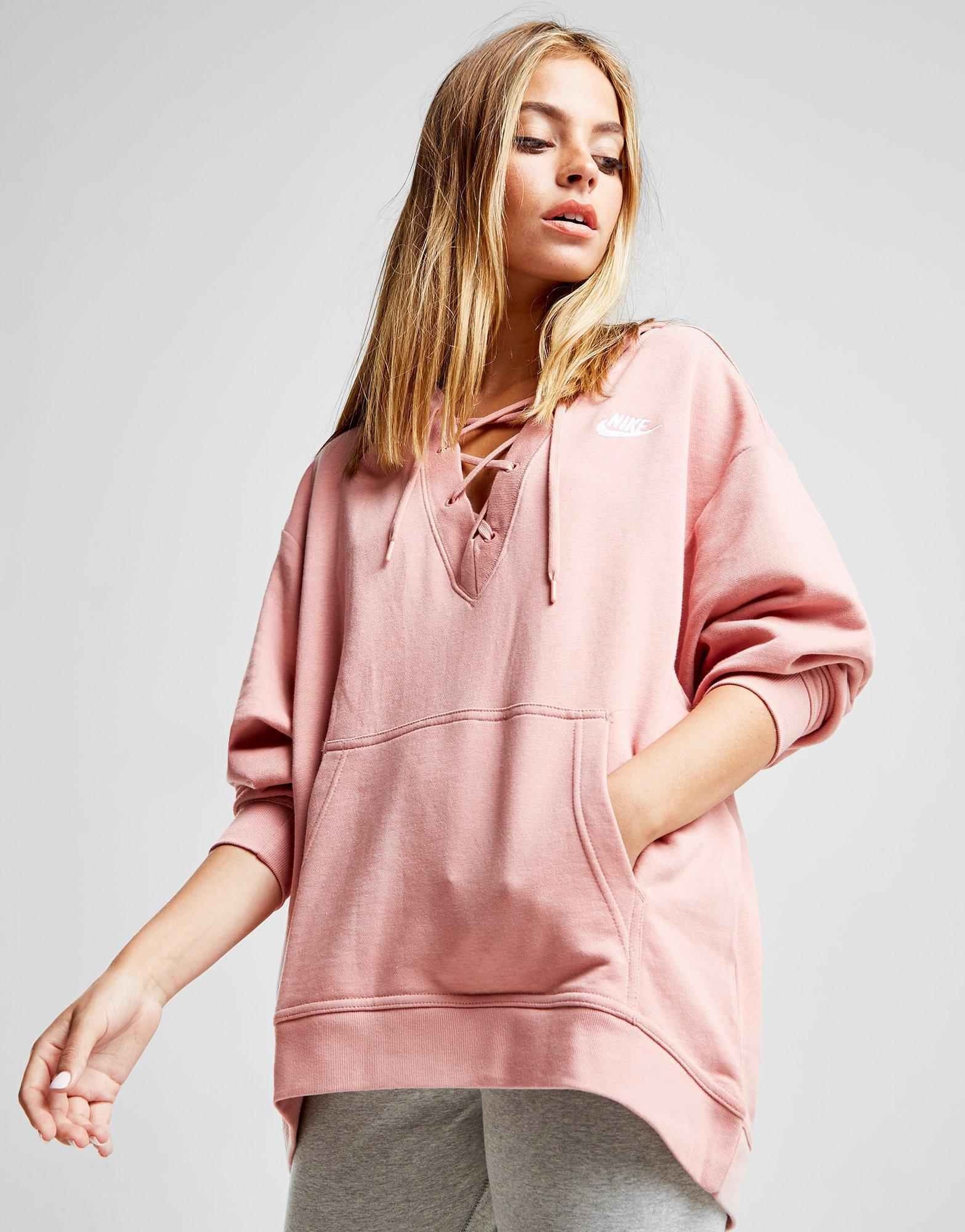 f1ebd18f9b92 Lyst - Nike Lace Up Hoodie in Pink